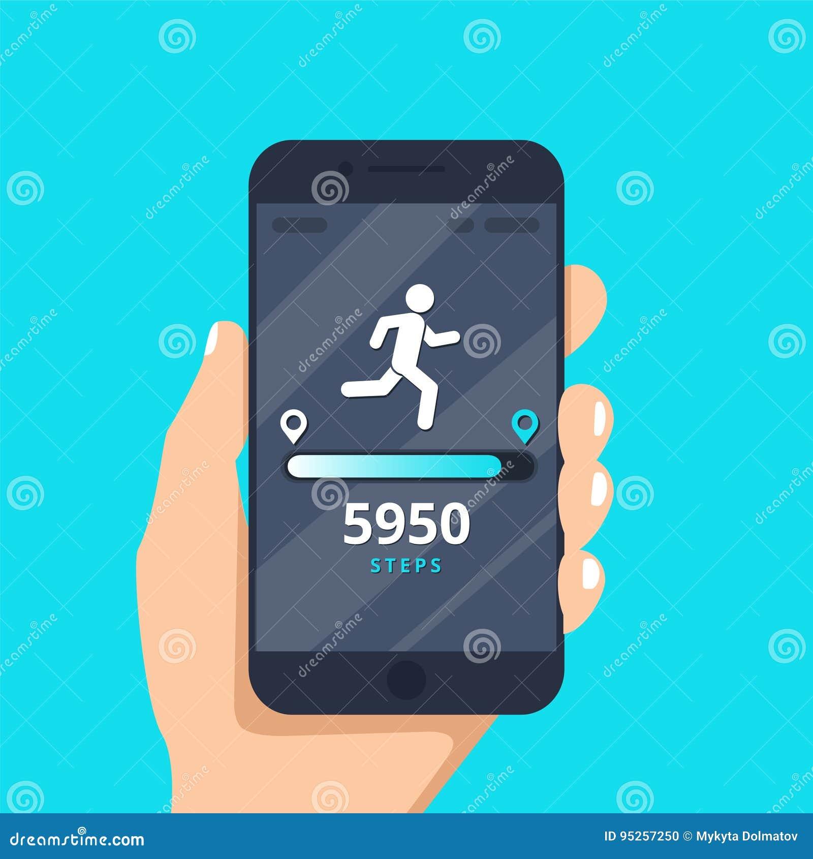 Geschiktheid die app op de mobiele illustratie volgt van het telefoonscherm vlakke beeldverhaalstijl, smartphone met looppasdrijv