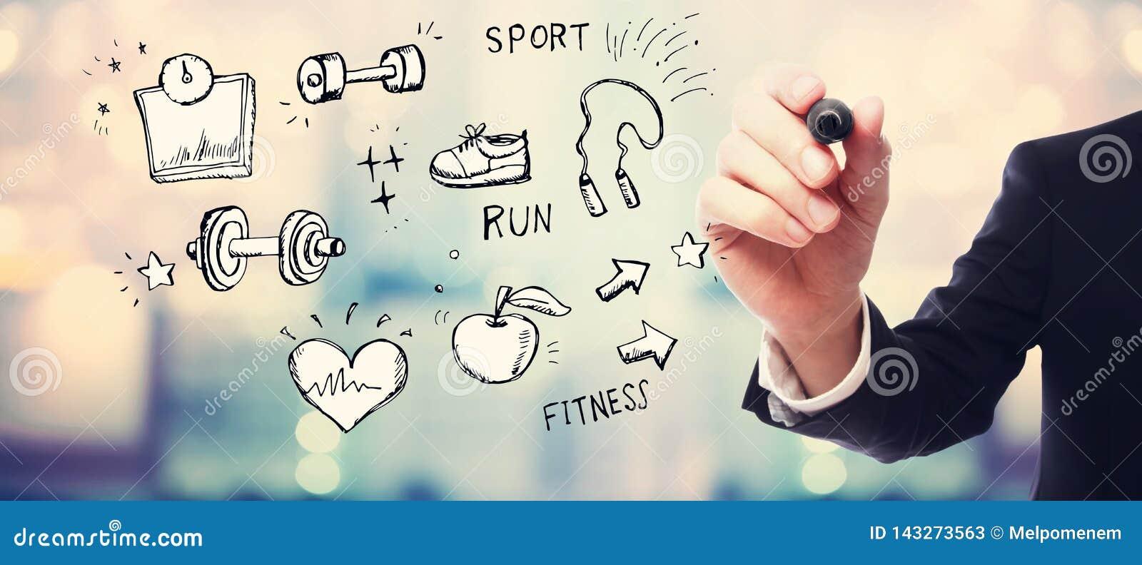 Geschiktheid en dieet met zakenman