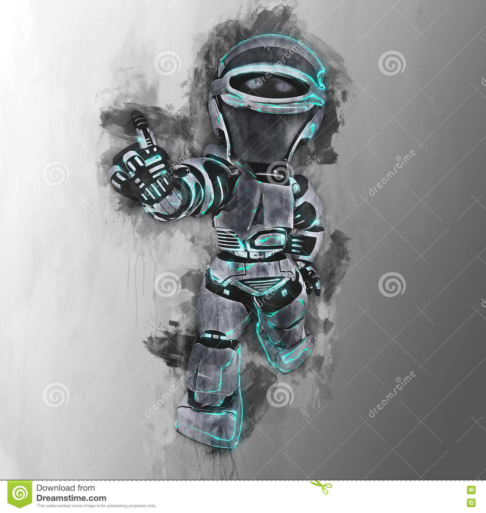 Geschilderd ontwerp van een futuristische robot stock illustratie ...
