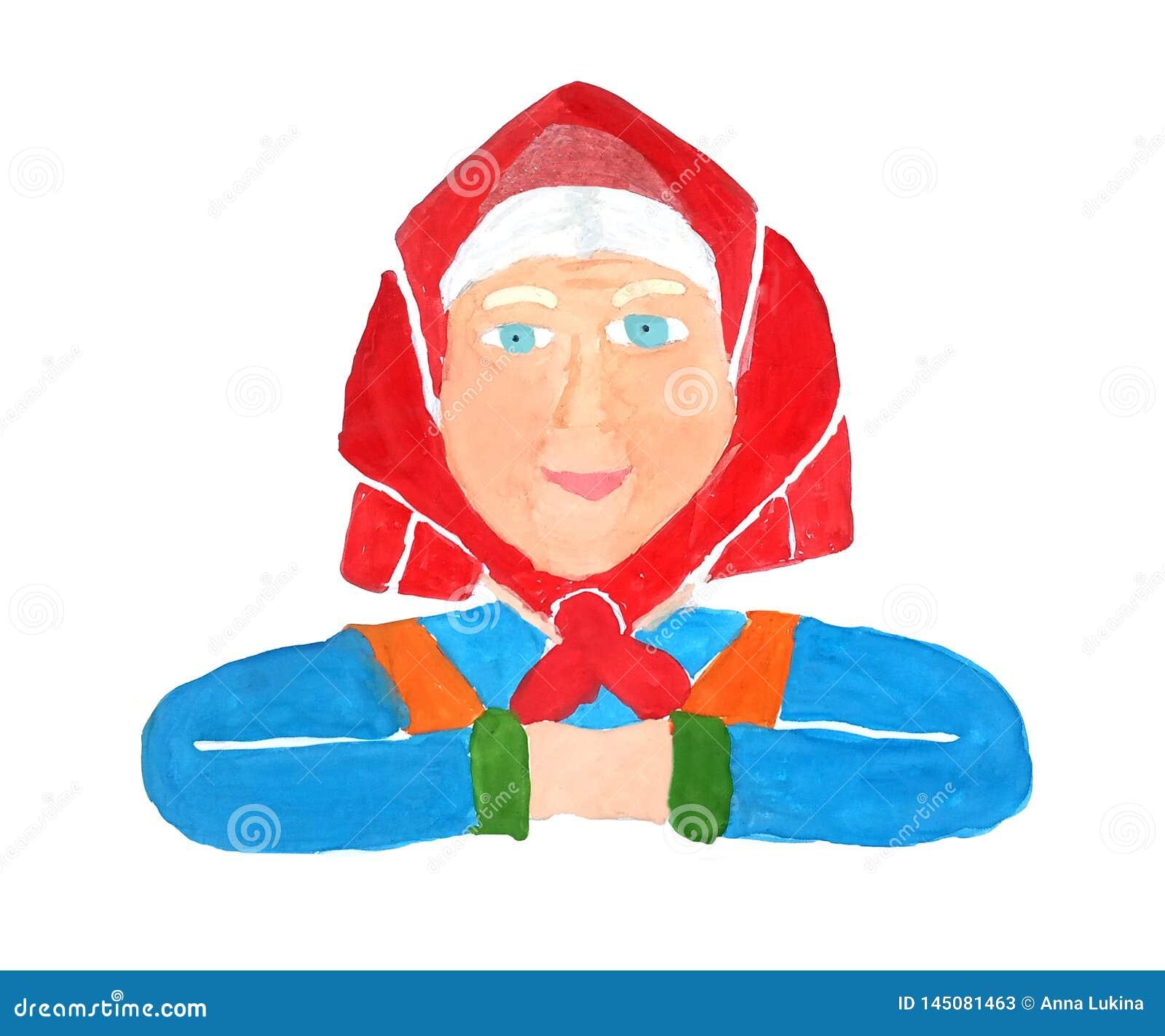 Geschilderd portret van een gezonde hogere oude vrouwengrootmoeder in een rode hoofddoek en in een blauwe kleding met een glimlac