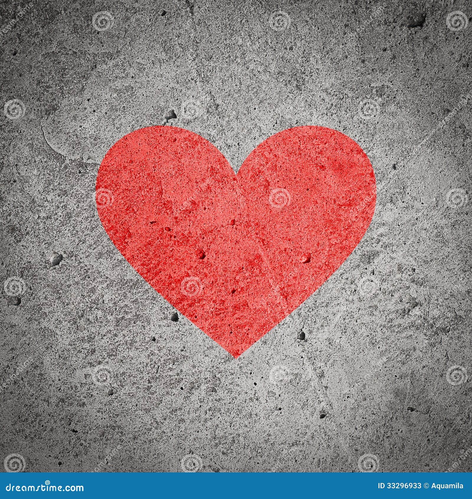 Geschilderd rood hart op donkere grijze concrete muur geweven achtergrond stock foto 39 s beeld - Grijze en rode muur ...