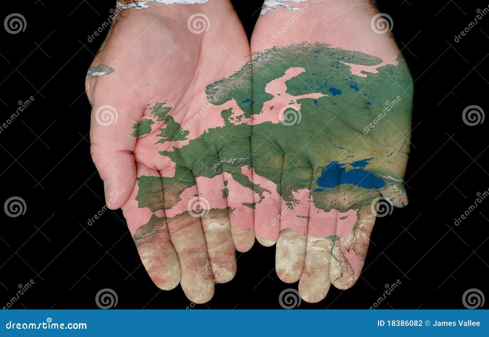 Geschilderde Kaart van Europa in Onze Handen