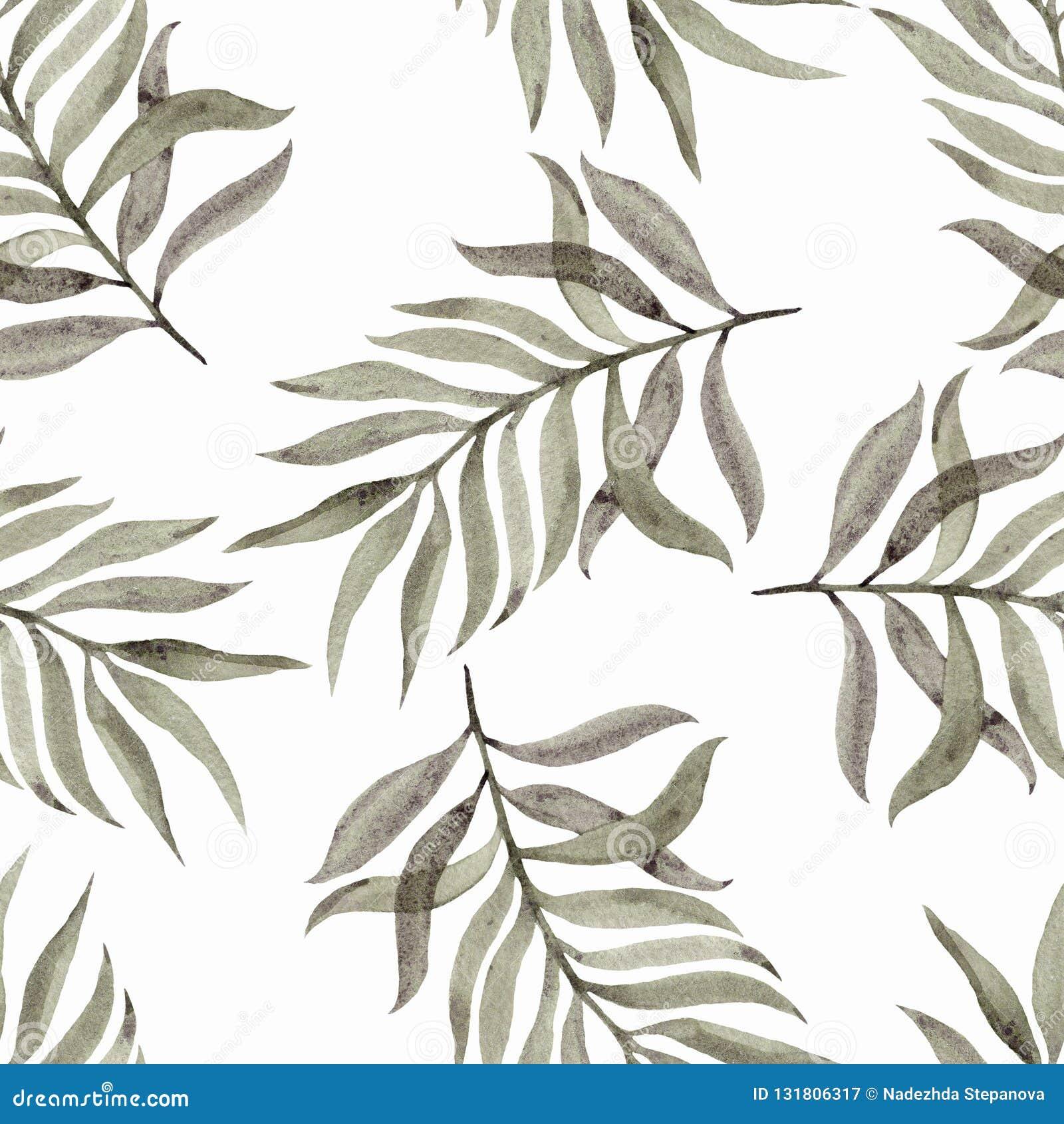 Geschilderde Watercolourhand Naadloos patroon met bladeren op een witte achtergrond Mooi ontwerp voor behang, textiel, stoffen