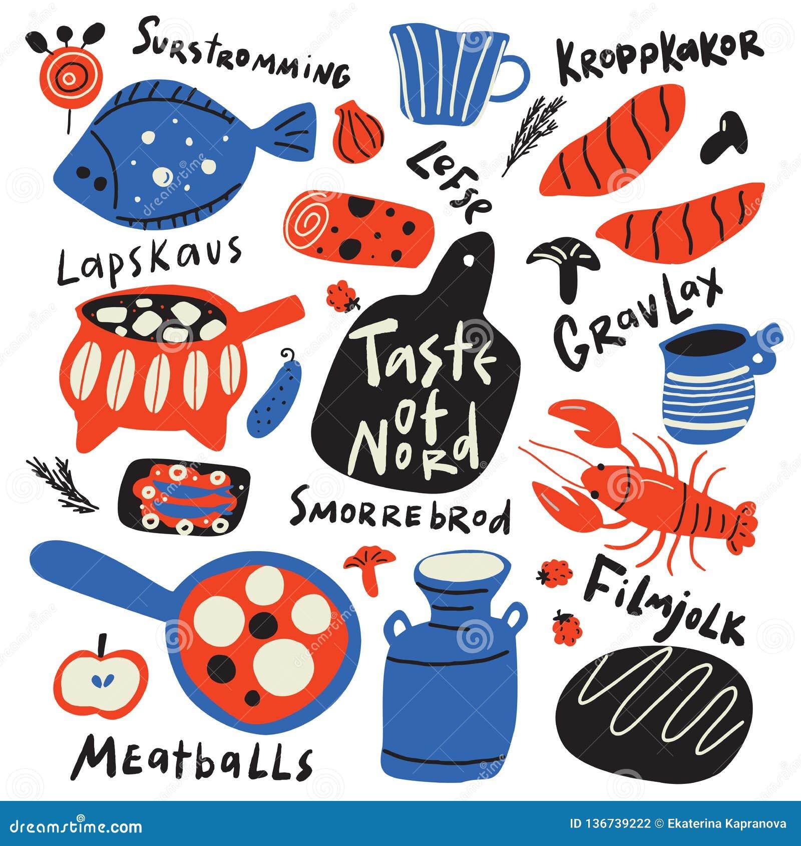 Geschmack der nord lustige Handgezogenen typografischen Illustration der verschiedenen skandinavischen Nahrung und der Küchenware