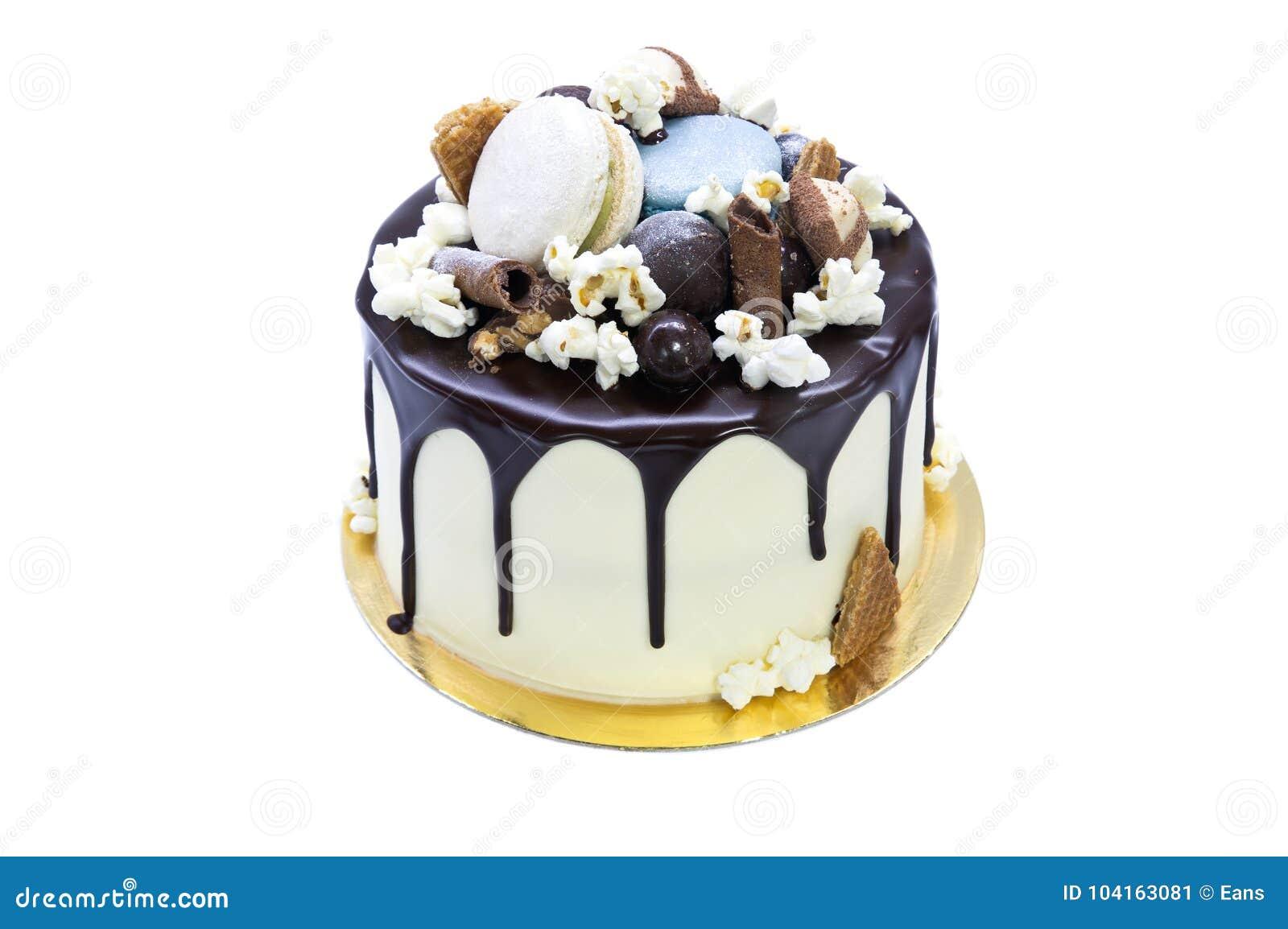 Geschmackvoller Selbst Gemachter Kuchen Mit Schokolade Uber Weissem