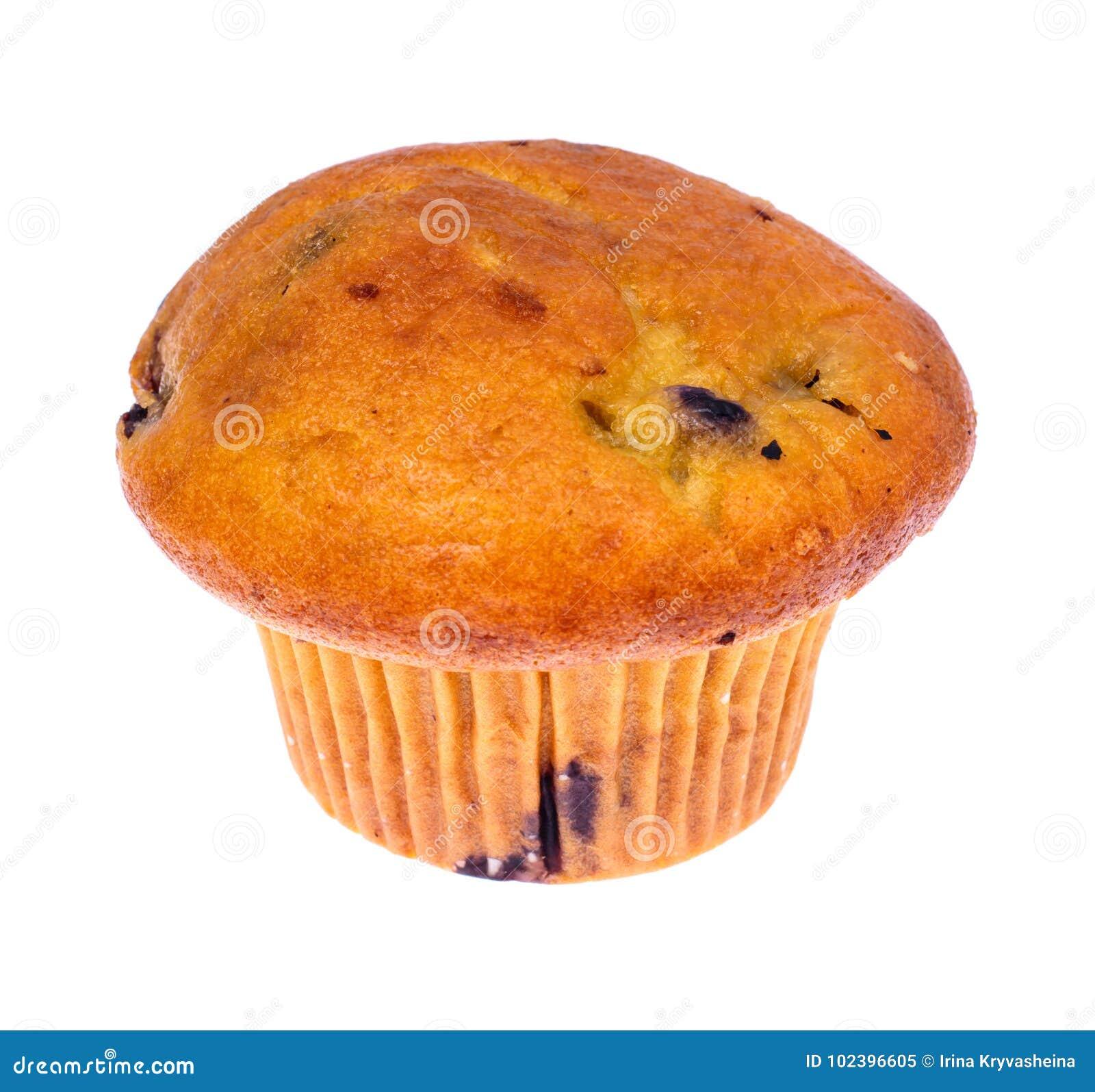 Geschmackvolles weiches Muffin mit Blaubeere auf weißem Hintergrund