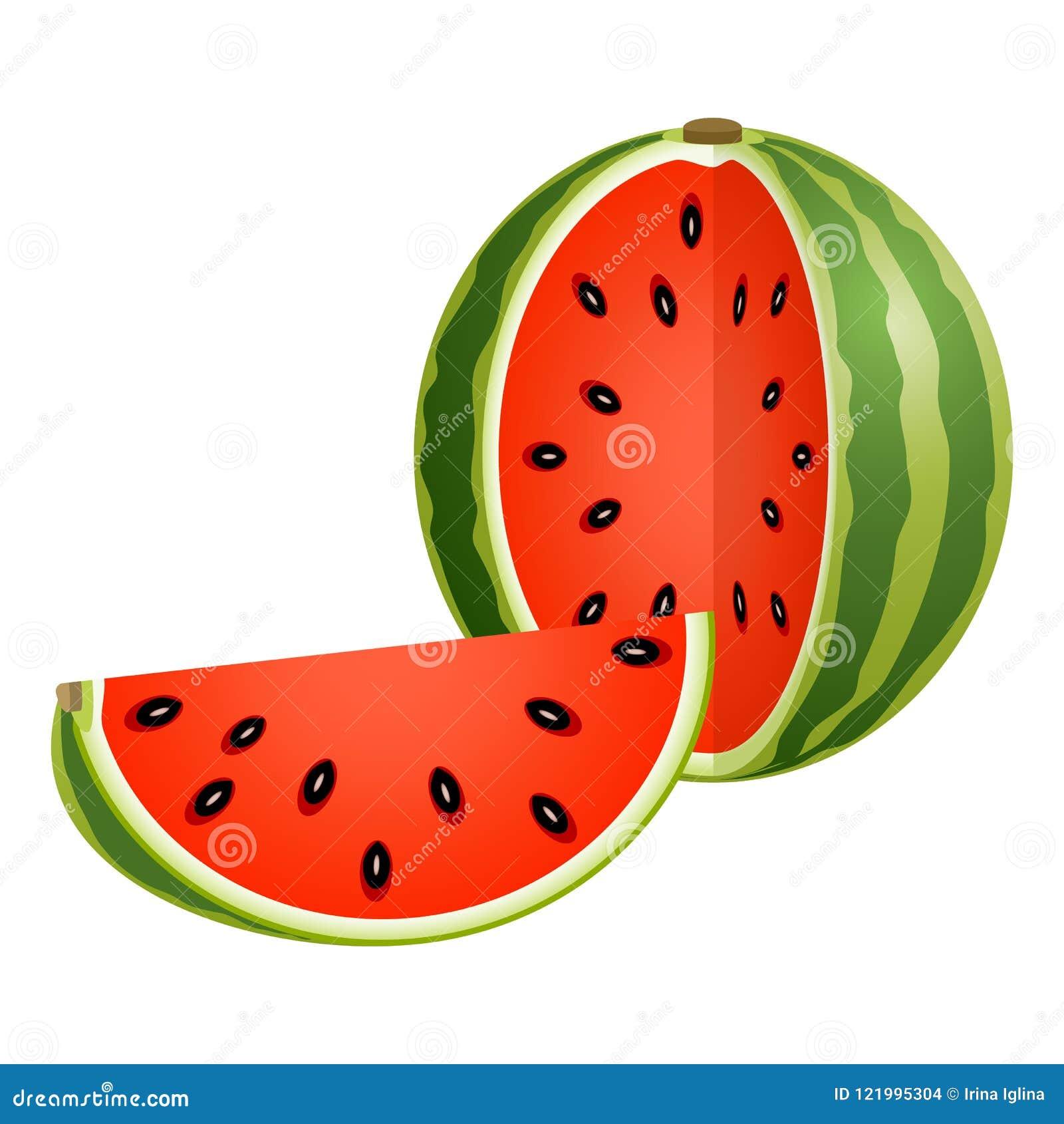 Geschnittene Wassermelone lokalisiert auf Weiß
