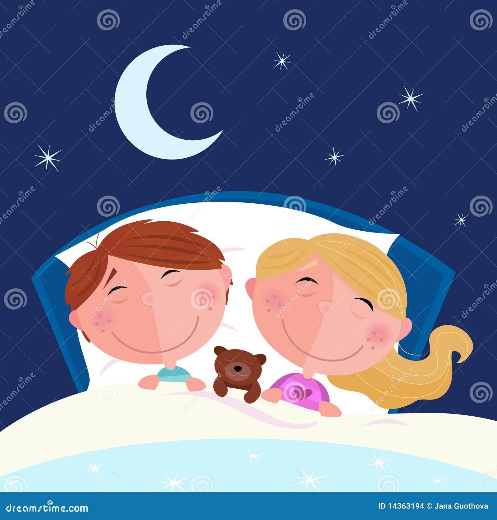 geschwister junge und m dchen die im bett schlafen stockbilder bild 14363194. Black Bedroom Furniture Sets. Home Design Ideas