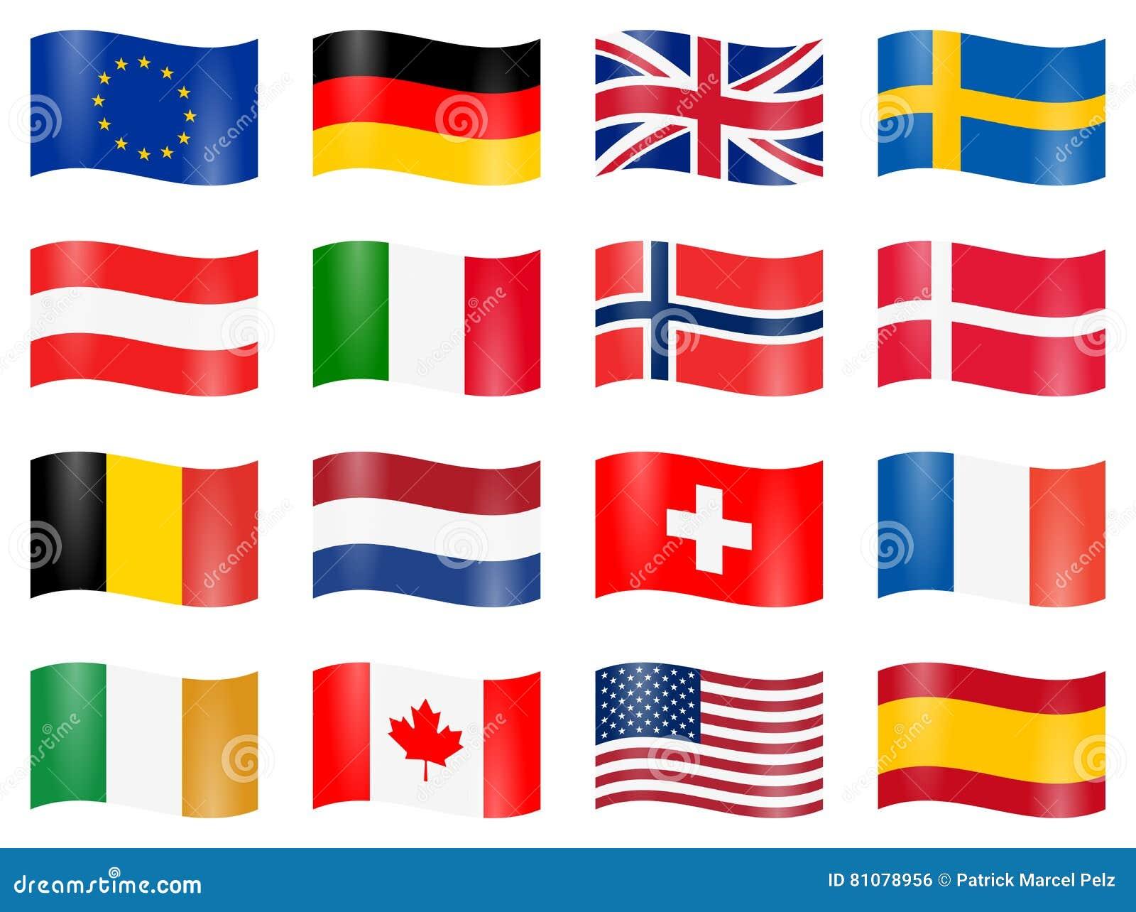 Geschwungene Landesflaggen