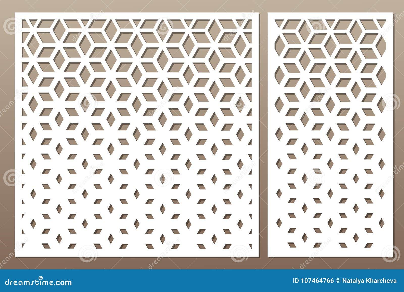 Gesetzte dekorative Karte für den Schnitt Quadratisches Muster Laser-Schnitt Rati