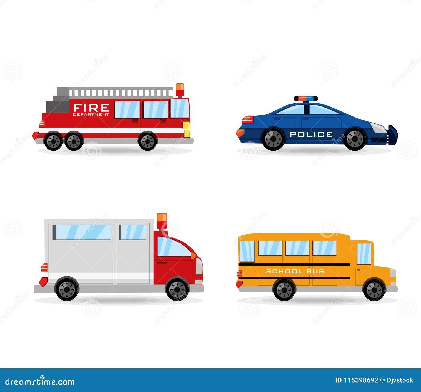 Gesetzte Ikone des Löschfahrzeugs, der Polizei, des Krankenwagens und des Busses flach