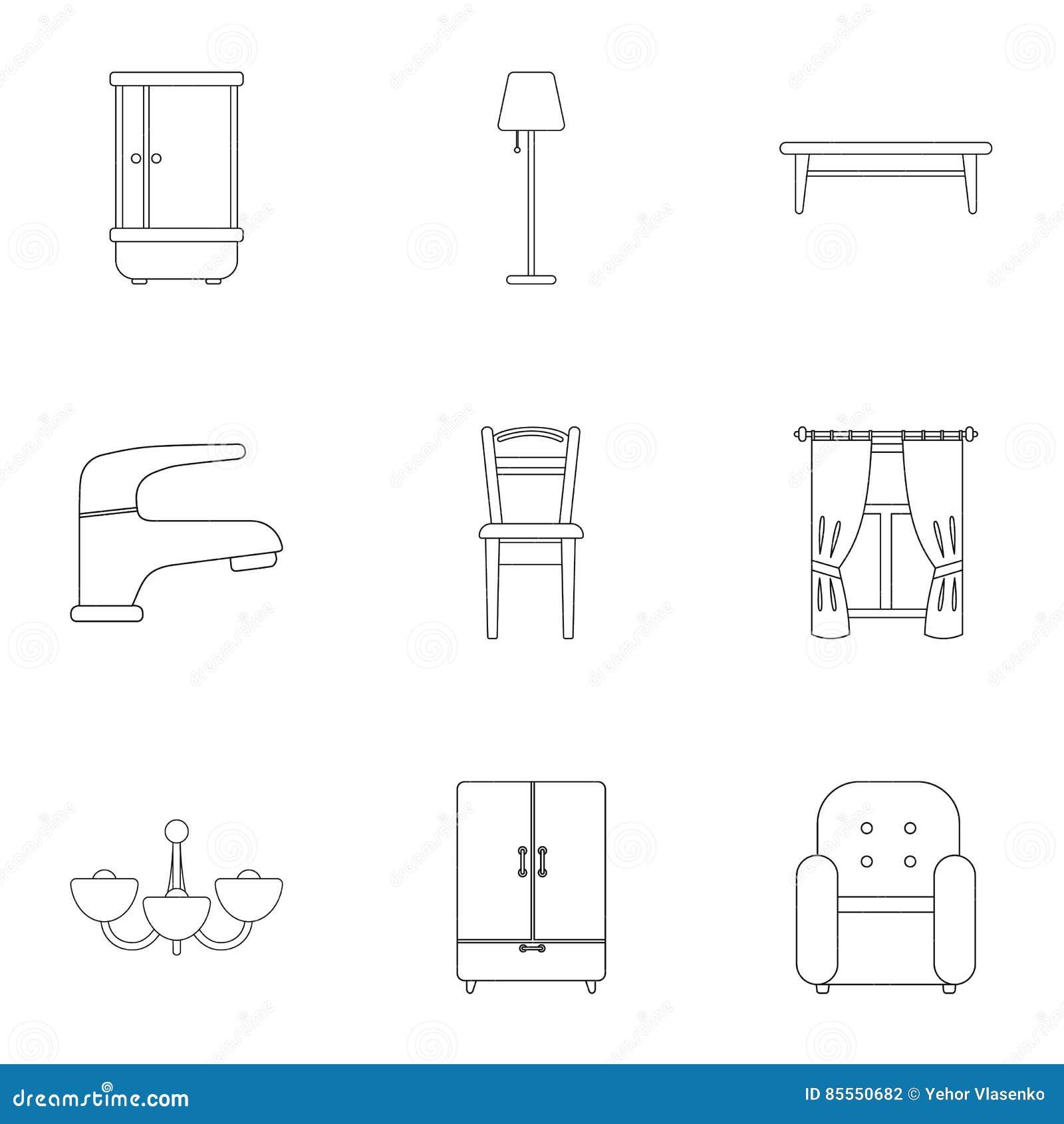 Gesetzte Ikonen der Möbel in der Entwurfsart Große Sammlung des Möbelvektorsymbols