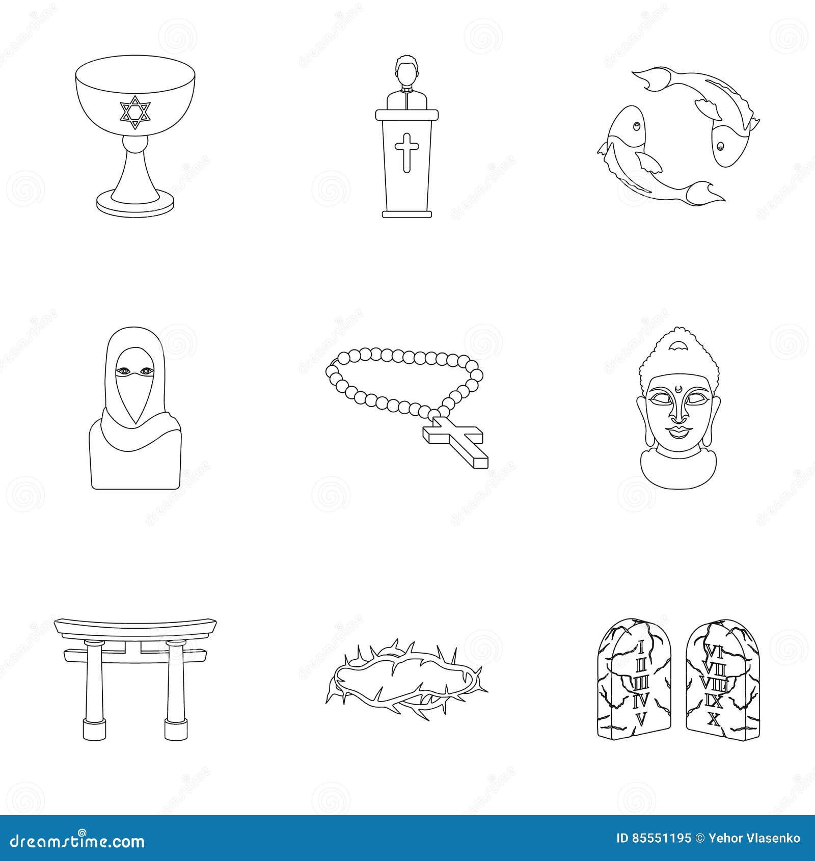Gesetzte Ikonen der Religion in der Entwurfsart Große Sammlung der Religionsillustration
