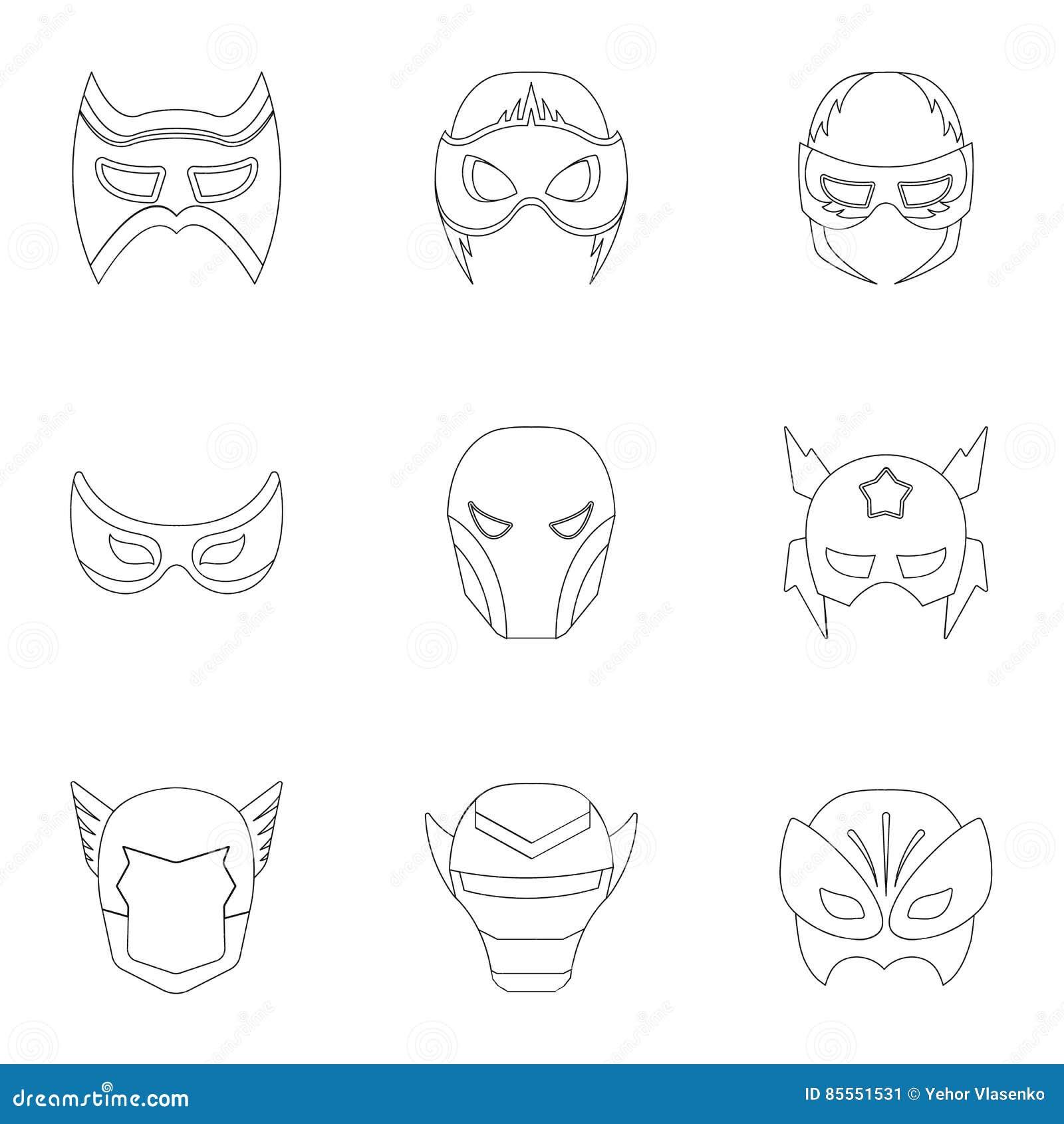 Gesetzte Ikonen der Superheldmaske in der Entwurfsart Große Sammlung der Superheldmaskenillustration