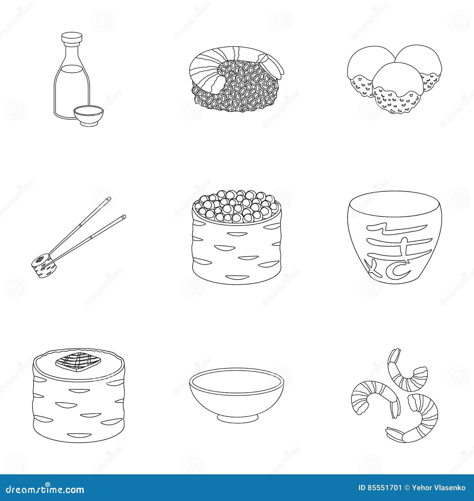 Gesetzte Ikonen der Sushi in der Entwurfsart Große Sammlung der Sushiillustration
