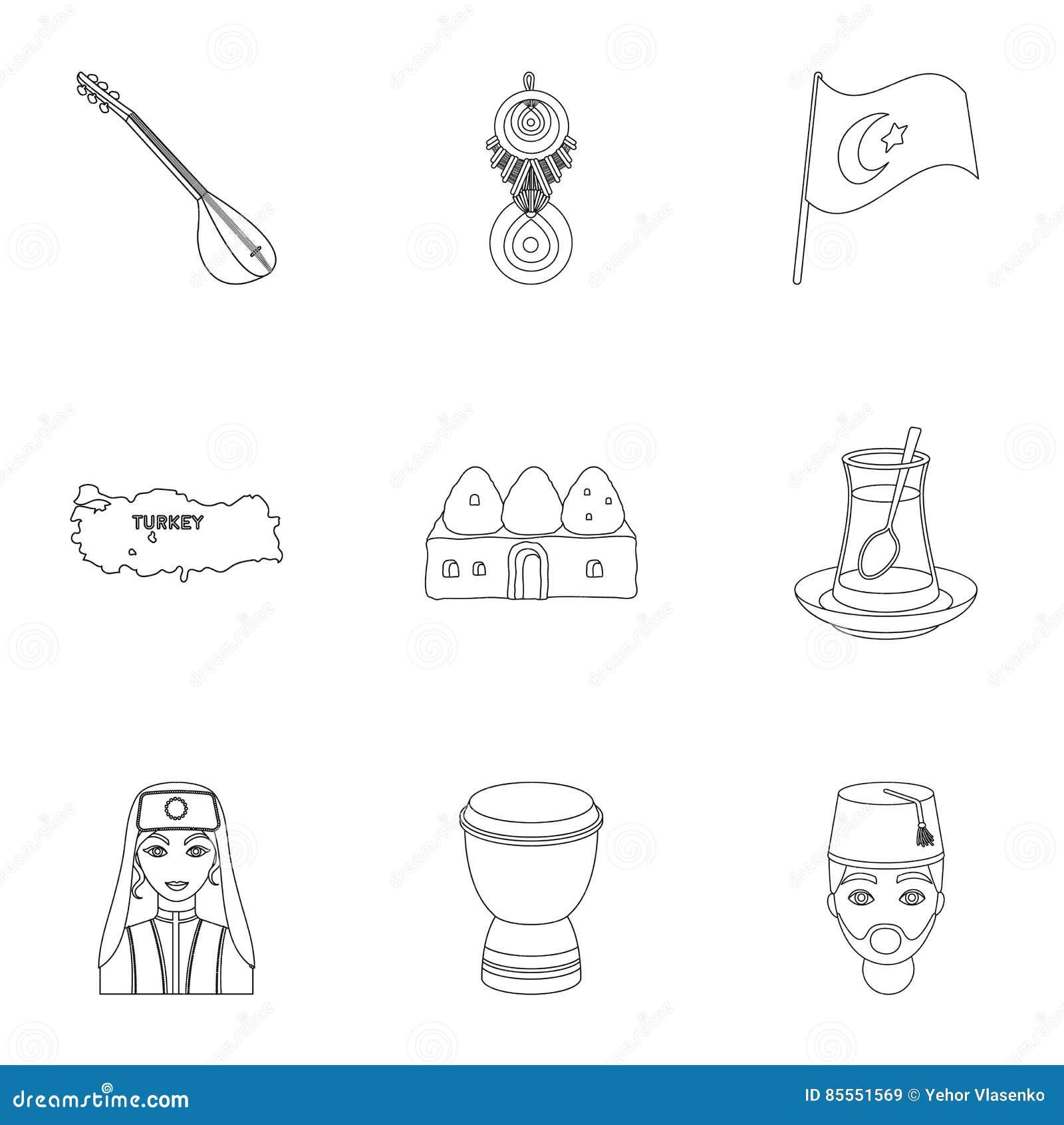 Gesetzte Ikonen der Türkei in der Entwurfsart Große Sammlung von die Türkei-Illustration