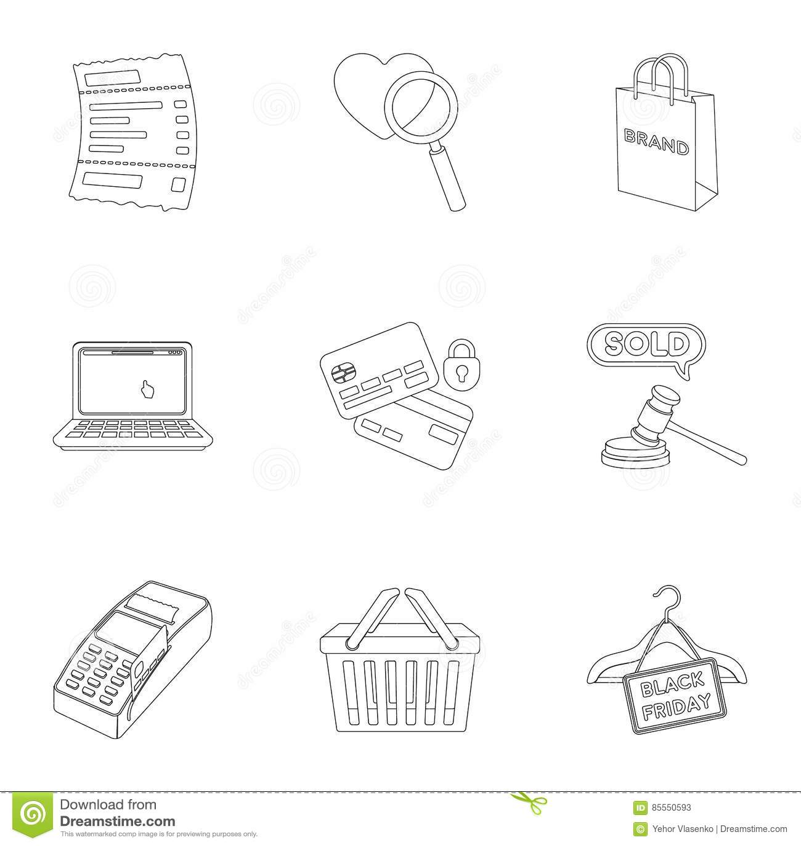 Gesetzte Ikonen des E-Commerce in der Entwurfsart Große Sammlung der E-Commerce-Illustration