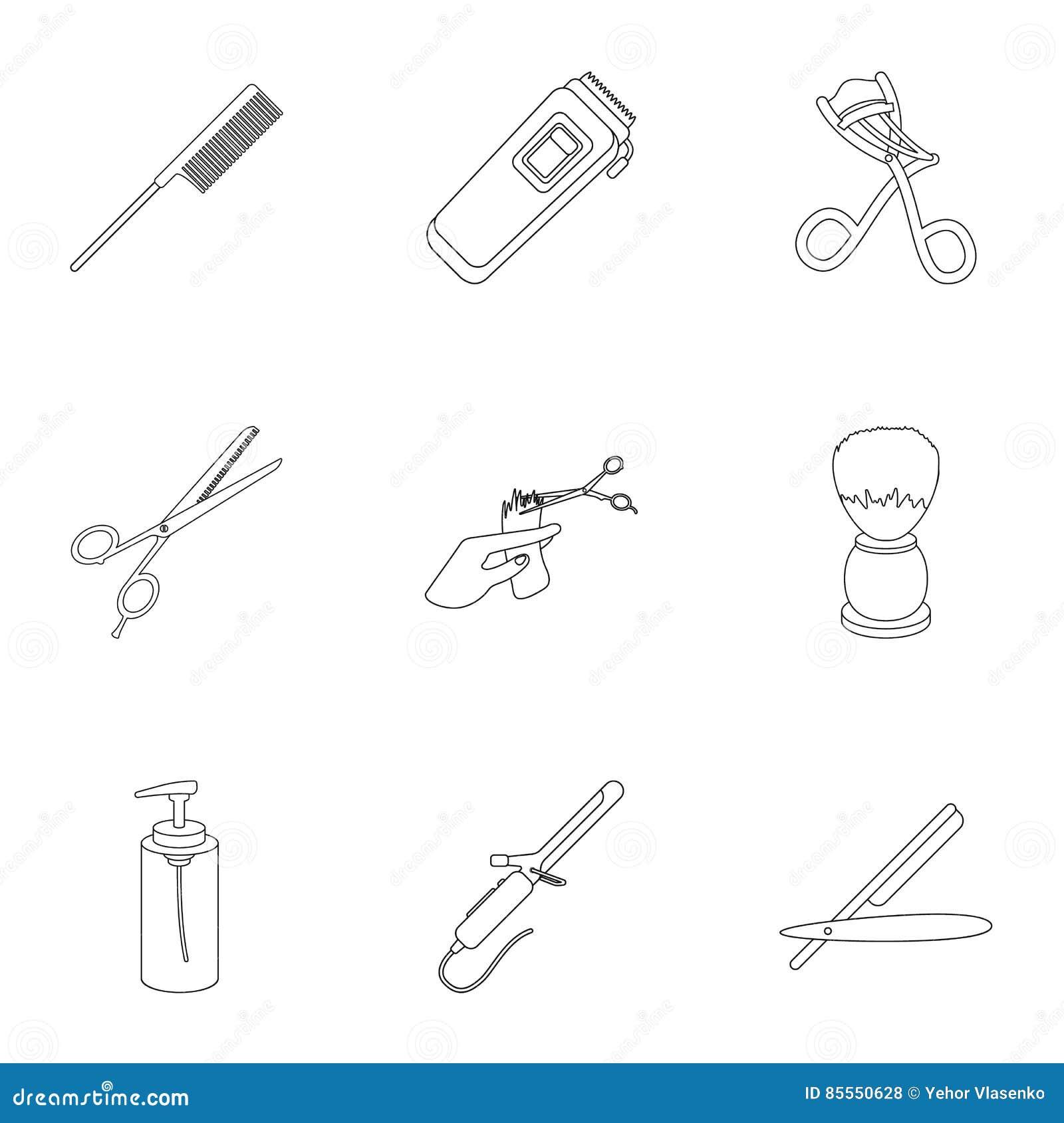 Gesetzte Ikonen des Friseurs in der Entwurfsart Große Sammlung der Friseurillustration
