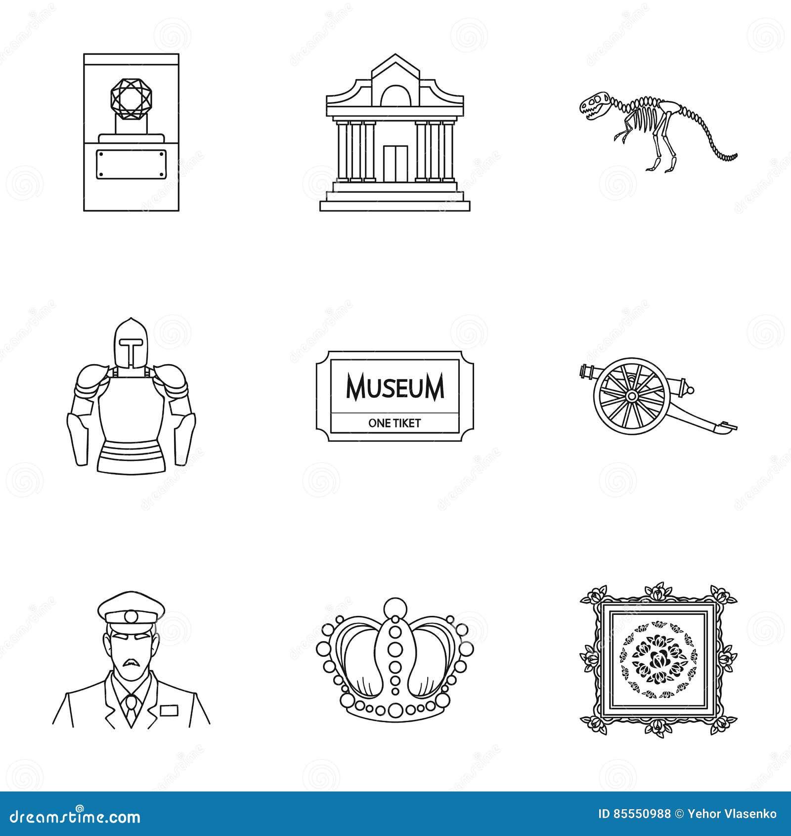 Gesetzte Ikonen des Museums in der Entwurfsart Große Sammlung der Museumsillustration