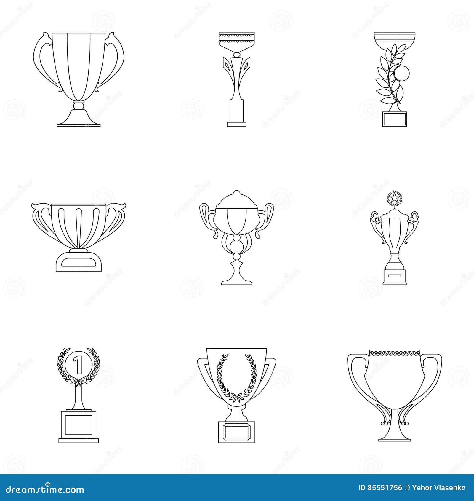 Gesetzte Ikonen des Siegercups in der Entwurfsart Große Sammlung der Siegercupillustration