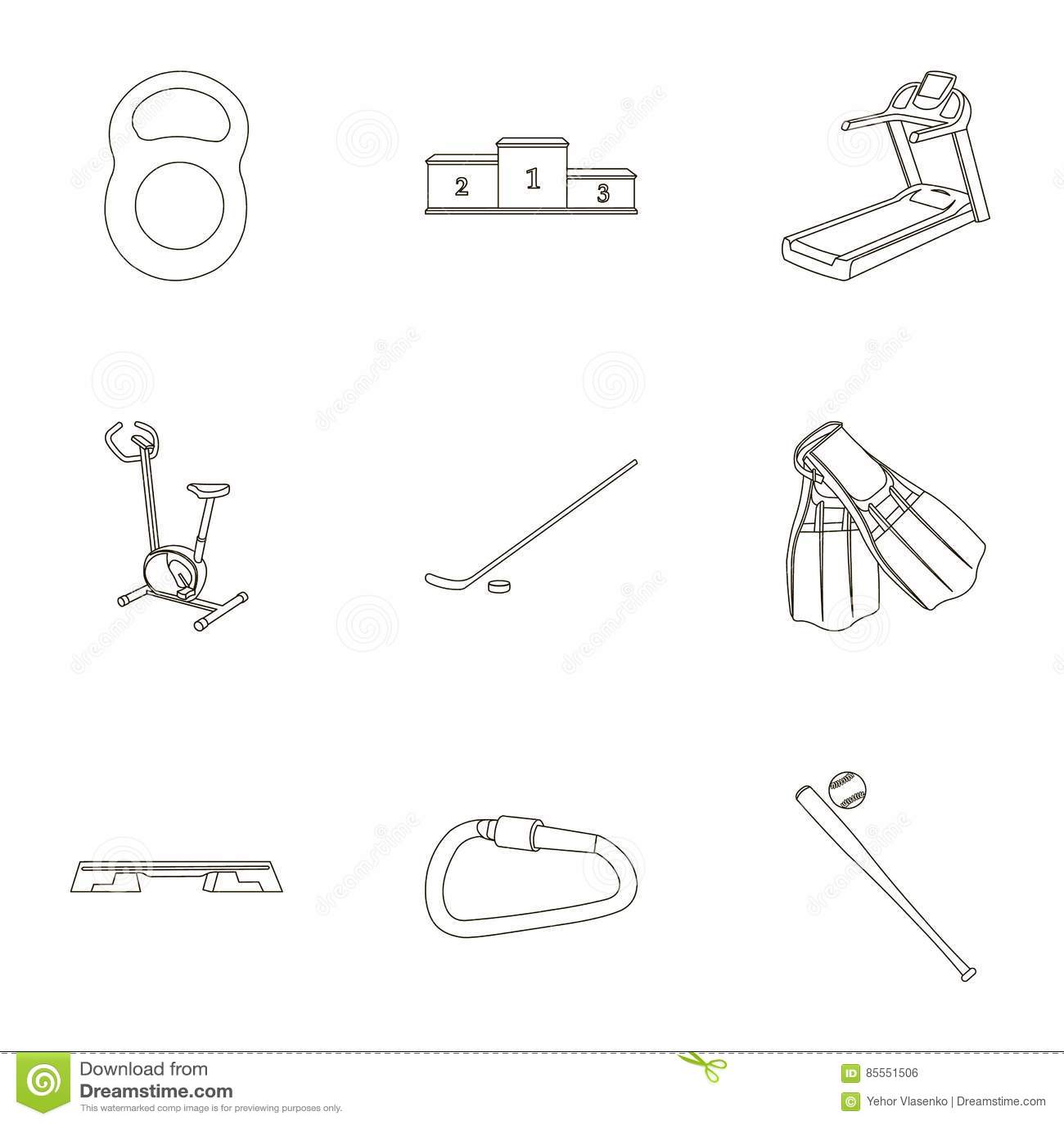 Gesetzte Ikonen des Sports und der Eignung in der Entwurfsart Große Sammlung der Sport- und Eignungsillustration