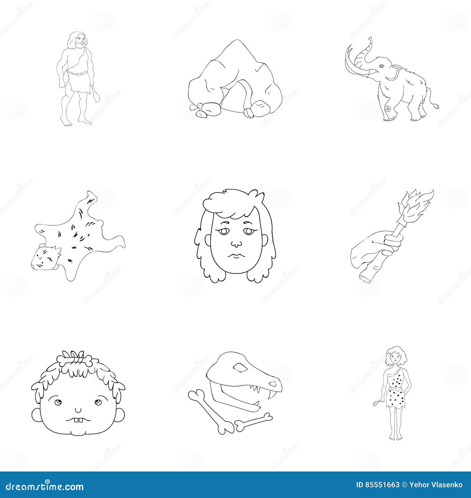 Gesetzte Ikonen des Steinzeitalters in der Entwurfsart Große Sammlung der Steinzeitalterillustration