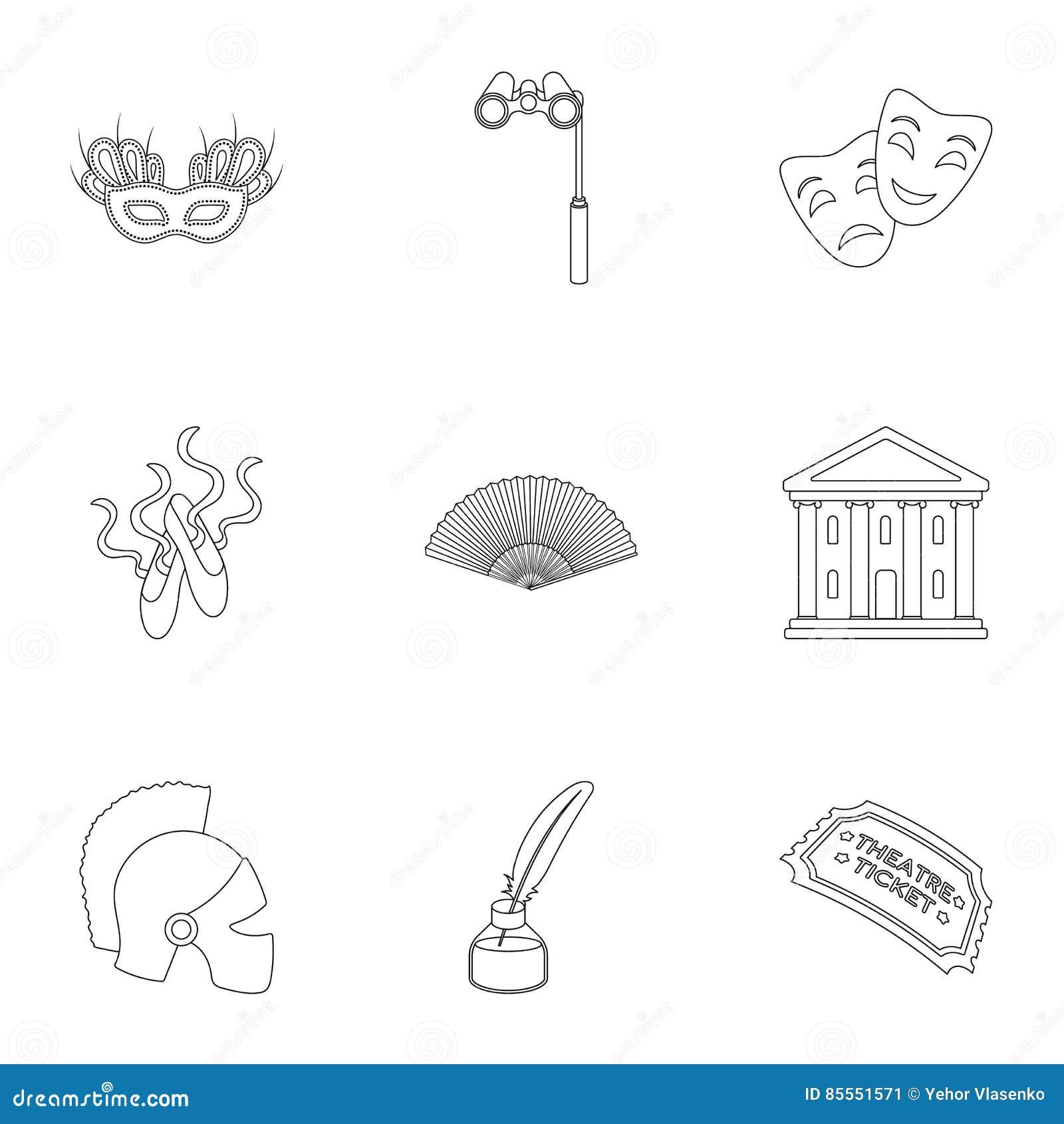 Gesetzte Ikonen des Theaters in der Entwurfsart Große Sammlung der Theaterillustration