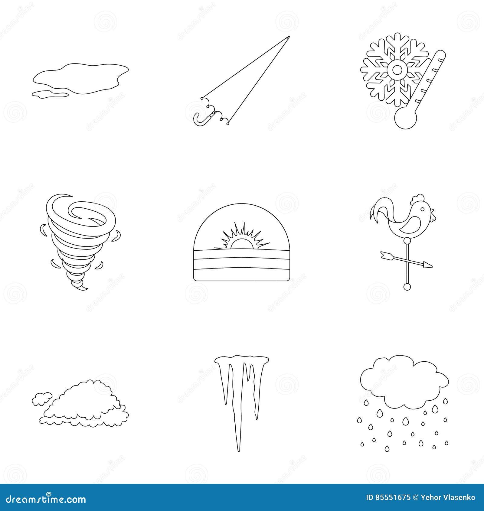 Gesetzte Ikonen des Wetters in der Entwurfsart Große Sammlung der Wetterillustration