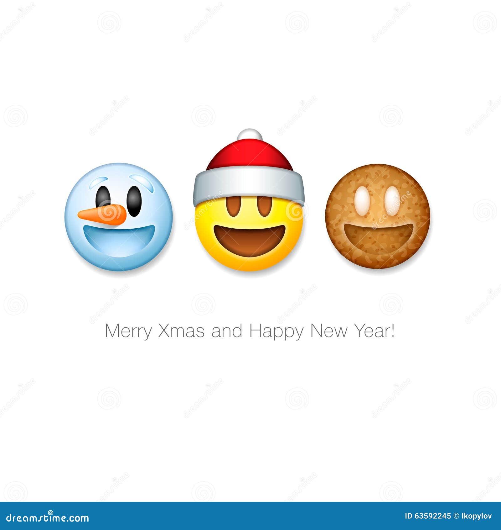 Gesetzte Ikonen Feiertag Emoticon, Weihnachten-emoji Symbol Stock ...