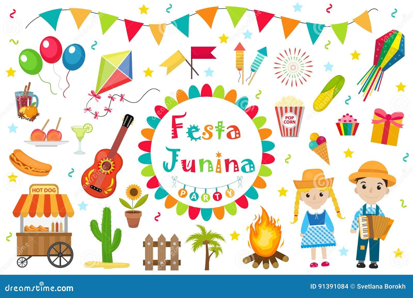 Gesetzte Ikonen Festa Junina Flache Art Brasilianisches