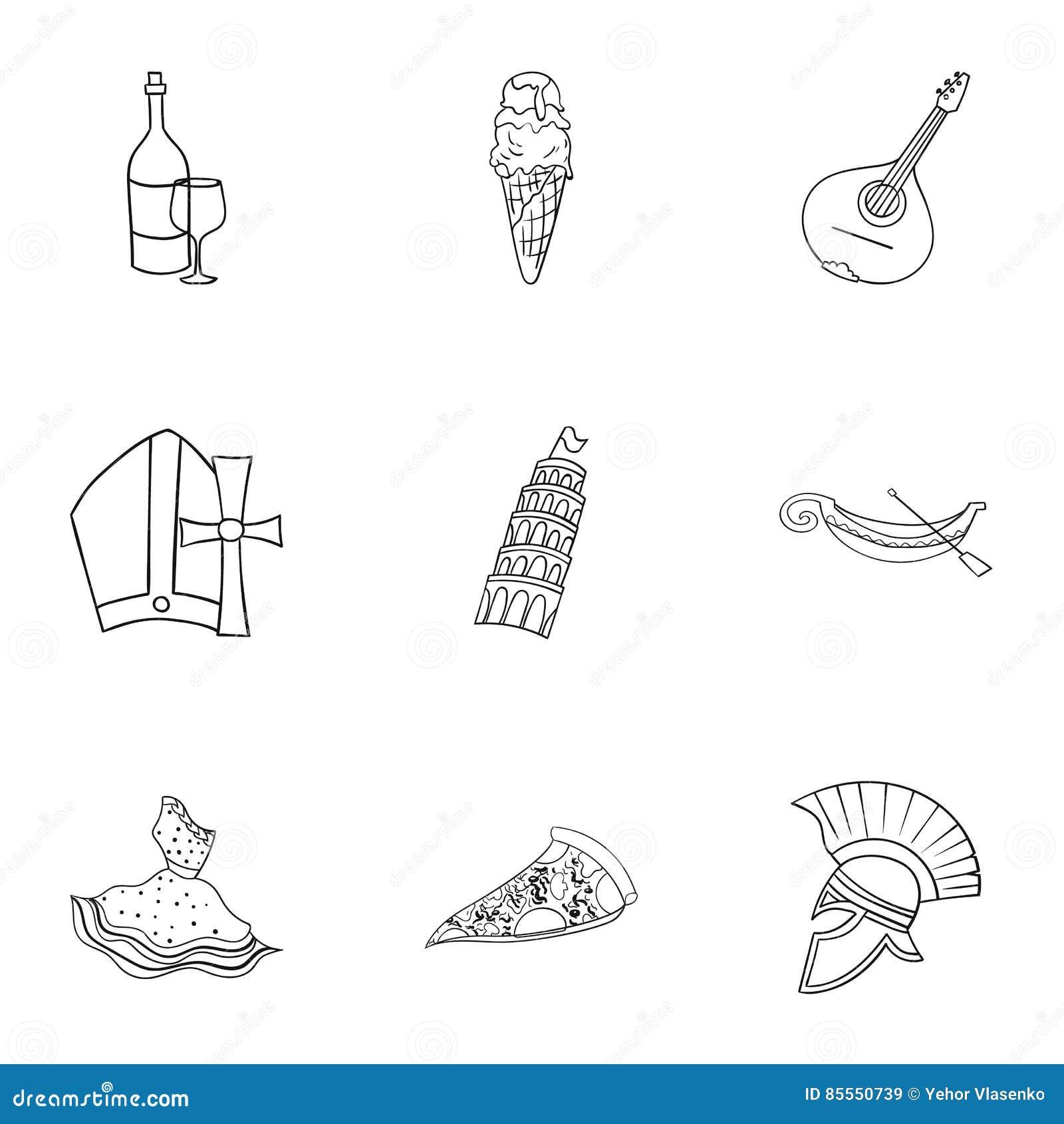 Gesetzte Ikonen Italien-Landes in der Entwurfsart Große Sammlung des Italien-Landvektorsymbols