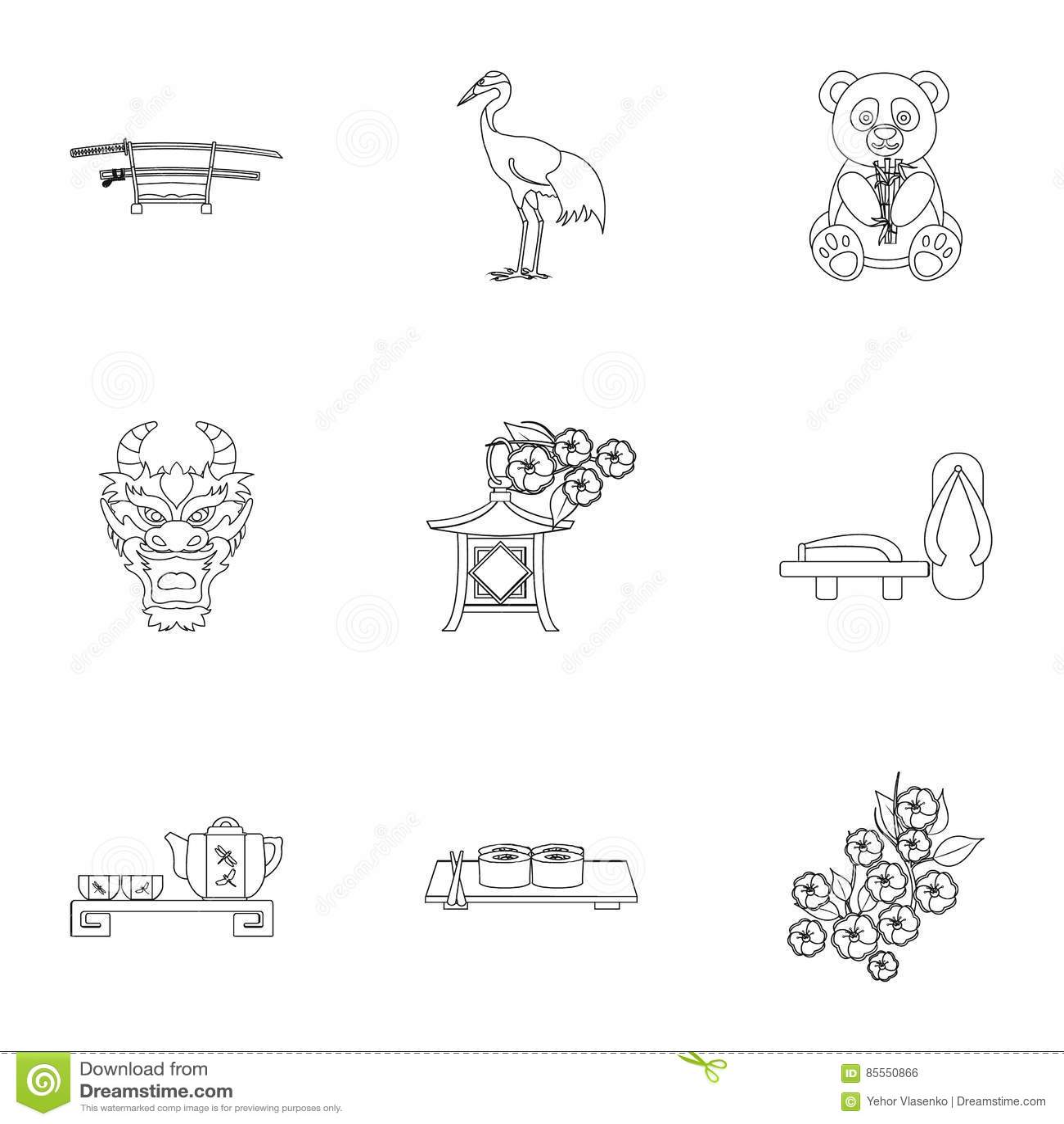 Gesetzte Ikonen Japans in der Entwurfsart Große Sammlung von Japan-Illustration