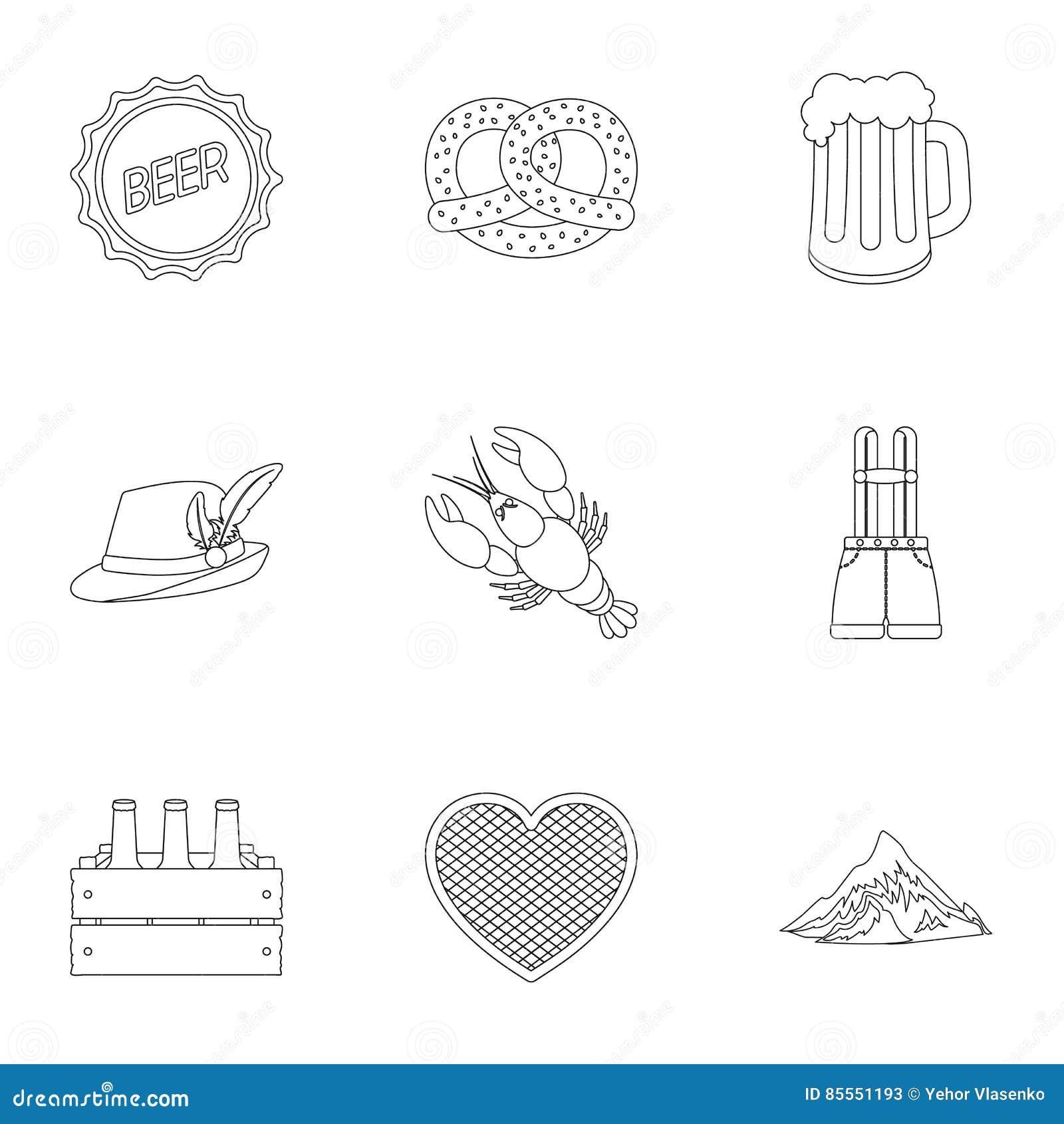 Gesetzte Ikonen Oktoberfest in der Entwurfsart Große Sammlung von Oktoberfest-Illustration