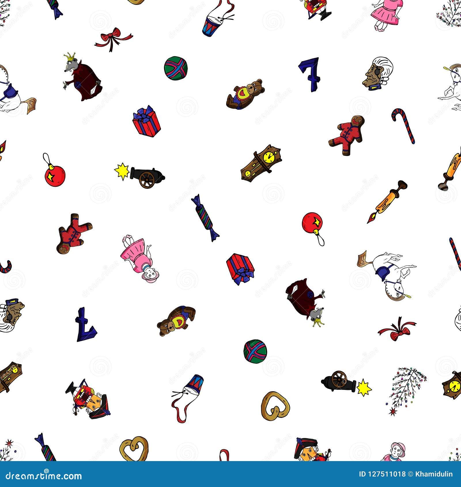 Gesetzte nahtlose Musterkarikatur-Weihnachtscharaktere für Märchen Nussknacker Kann für Webseitenhintergrund, Füllen verwendet we