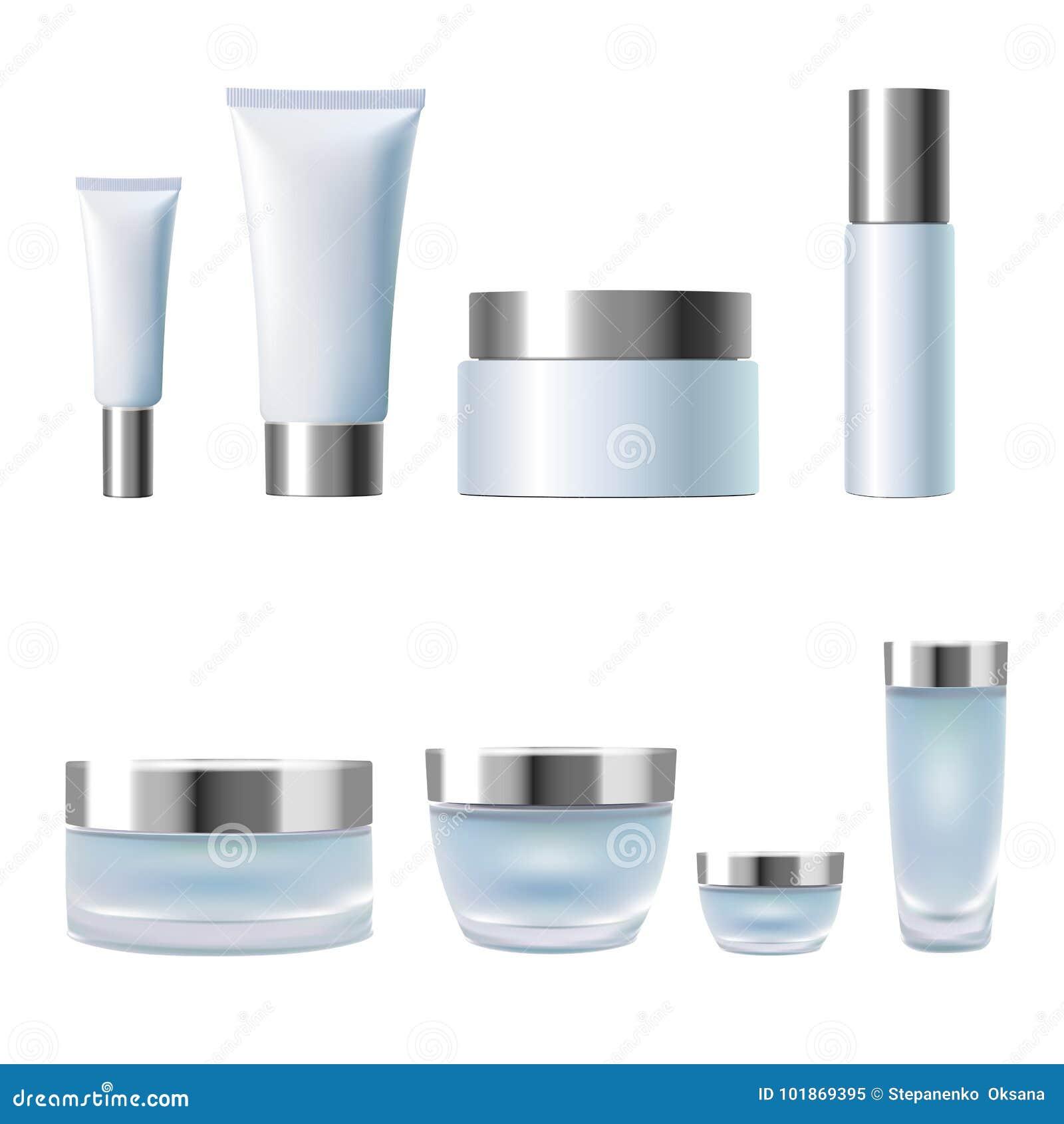 Gesetzte realistische kosmetische Cremetiegelrohre des Pakets 3d Glasplastik der hellblauen silbernen metallischen Behälter lokal