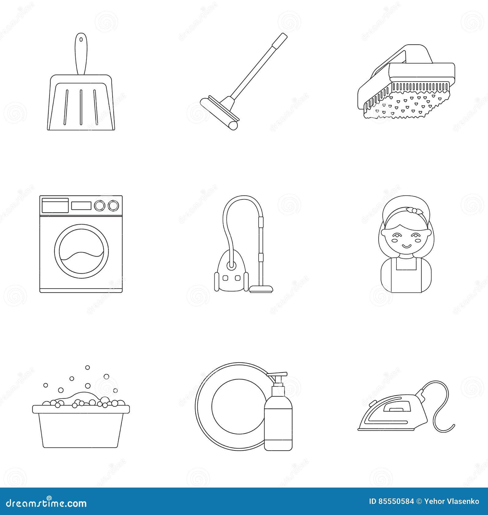 Gesetzte Reinigungsikonen in der Entwurfsart Große Sammlung der Reinigungsillustration