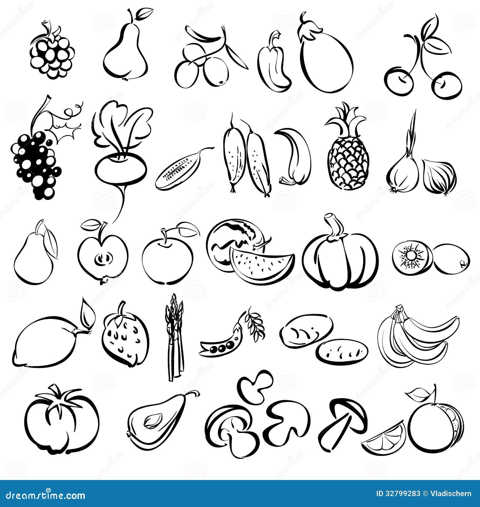 gesetzte skizze der obst und gemüse ikone vektor