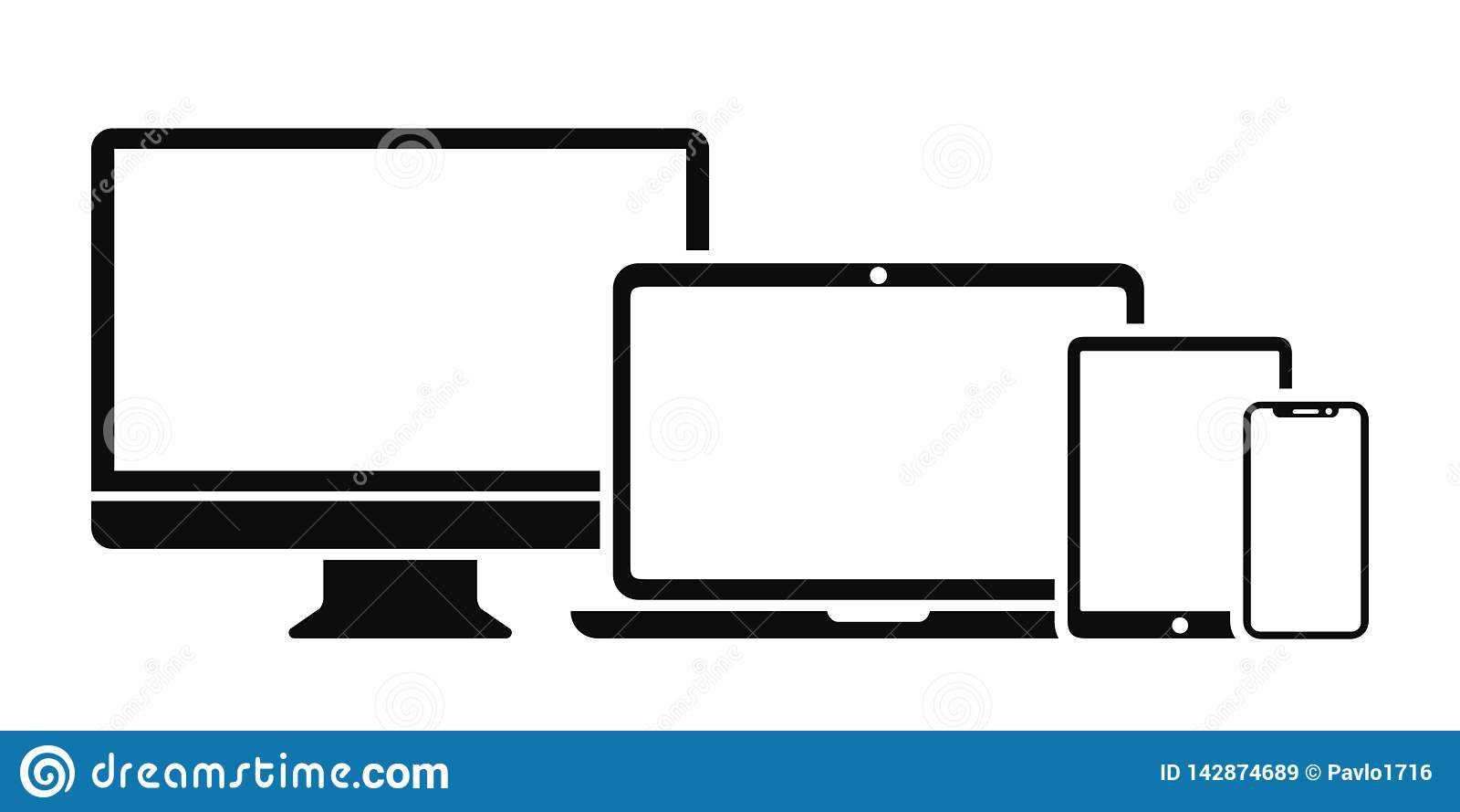 Gesetzte Technologiegerätikone: Computer-, Laptop-, Tabletten- und Smartphoneschirmikone für Web-Entwicklungs-Apps und -website