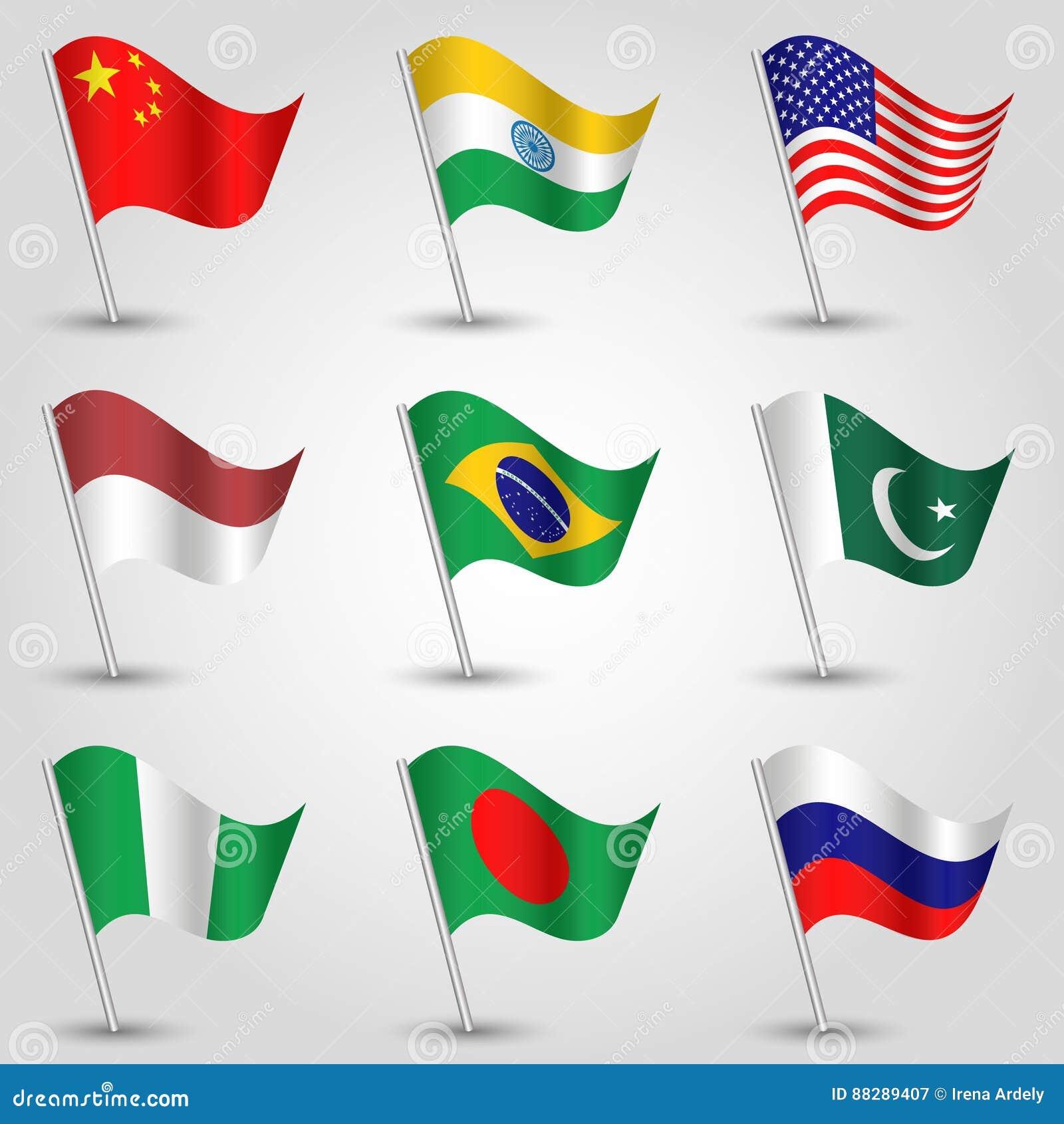 Gesetzte wellenartig bewegende Flaggen des Vektors von Zuständen mit größter Bevölkerung auf silbernem Pfosten - Ikone des Landpo