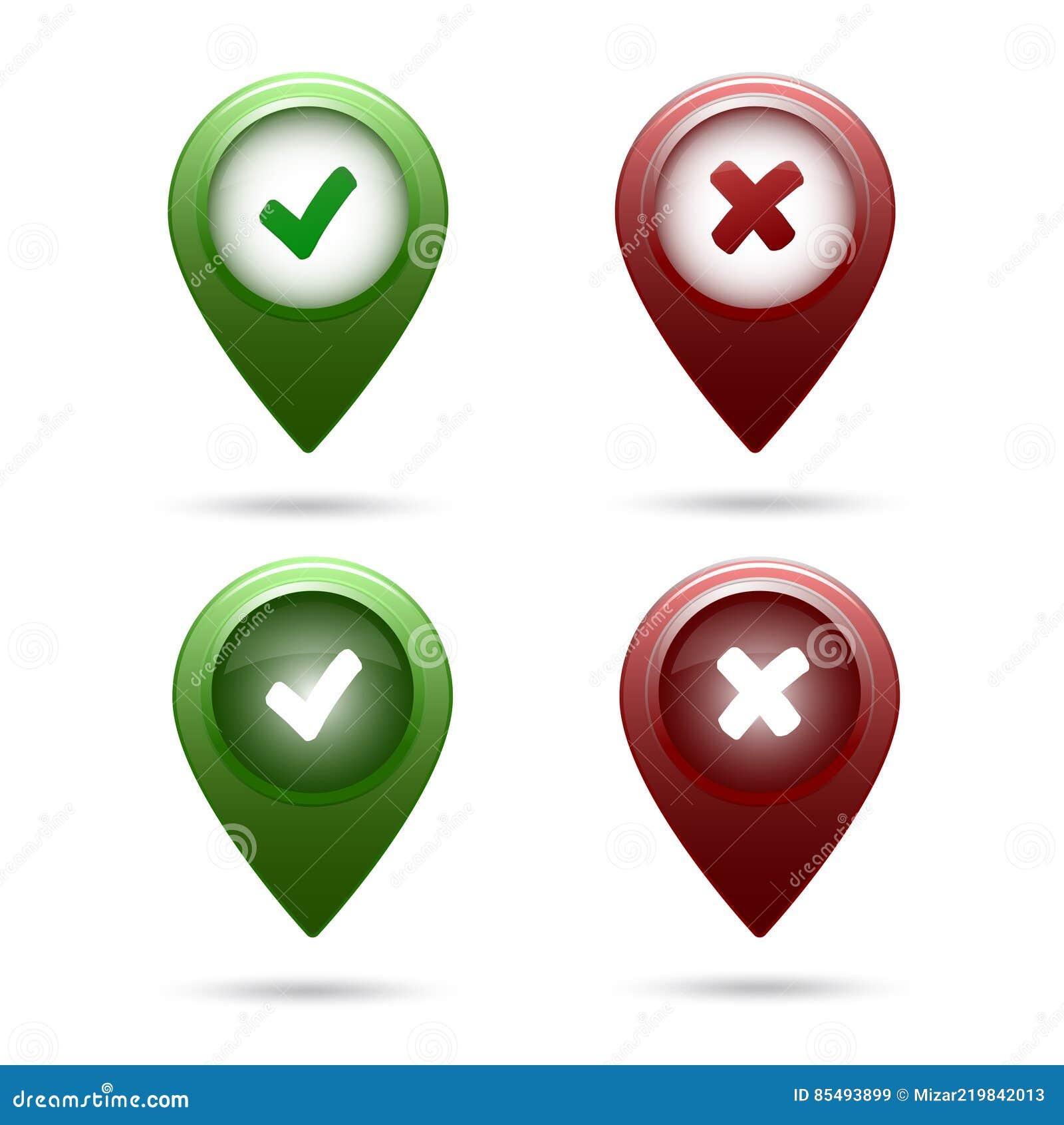 Kreuz Karte.Gesetzte Zecke Und Kreuz Der Markierung Der Farbigen Karte Vektor