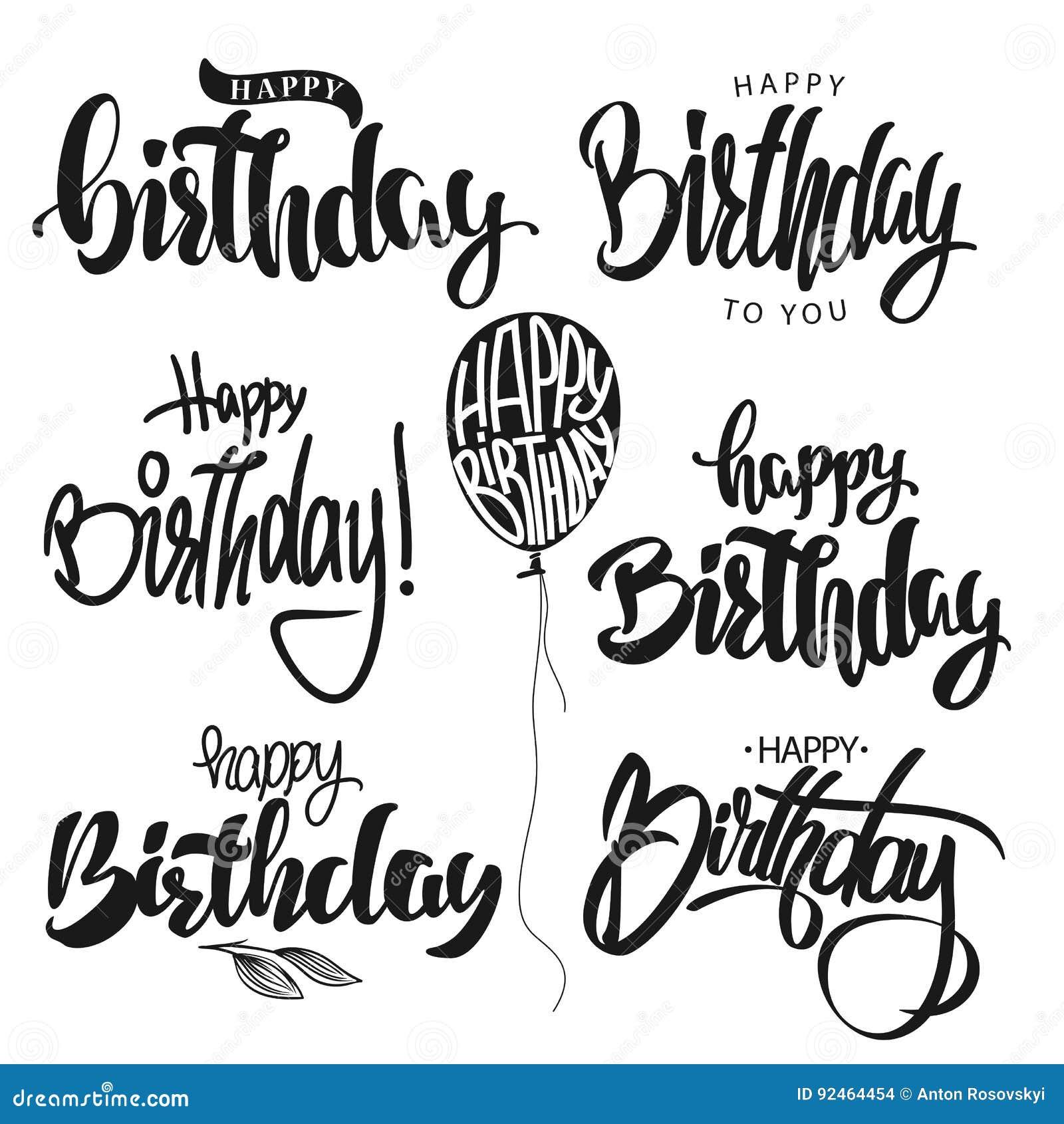 Gesetzter Vektor der alles- Gute zum Geburtstagkalligraphiehandbeschriftung