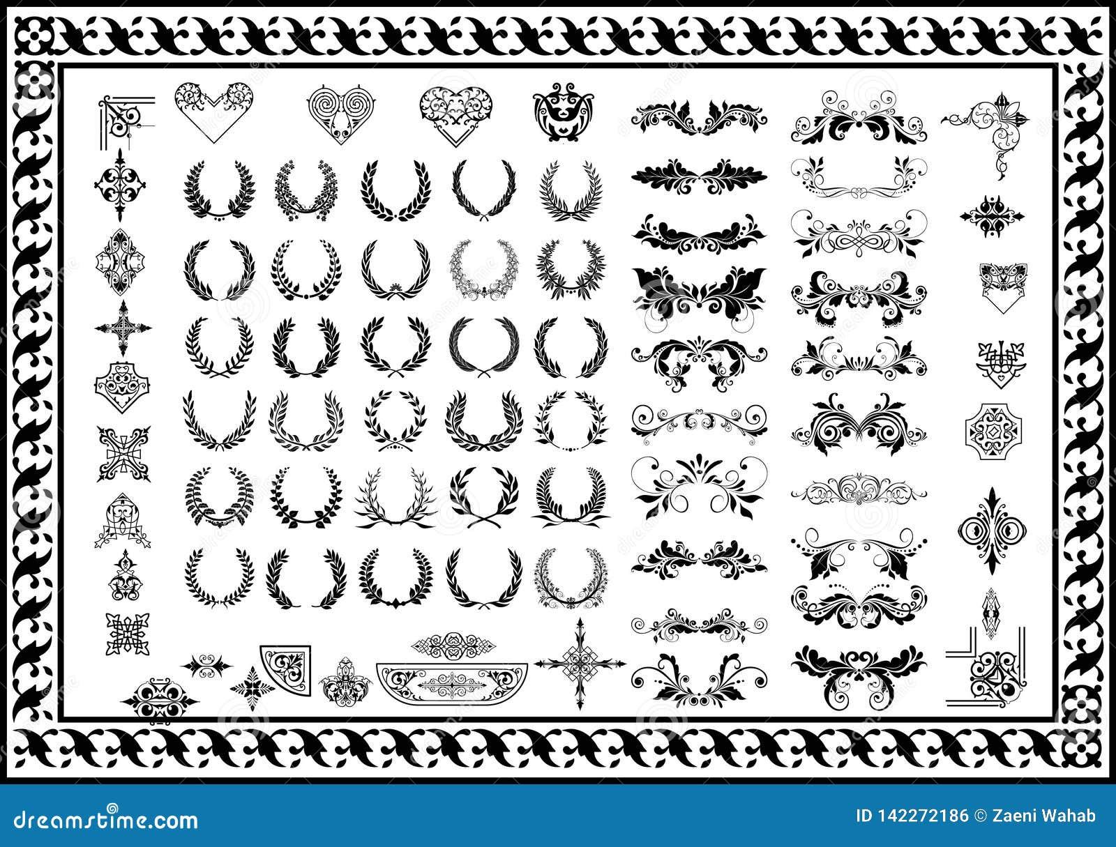 Gesetztes dekoratives Element- und Ausweislorbeerkranzschwarzes