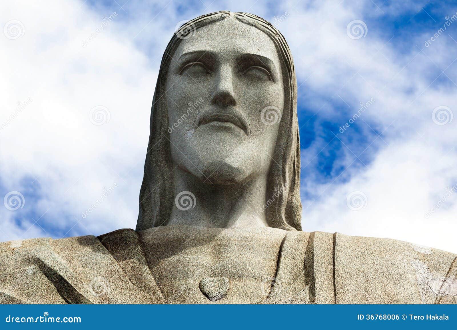 Gesicht der Statue von Christus der Erlöser in Rio de Janeiro