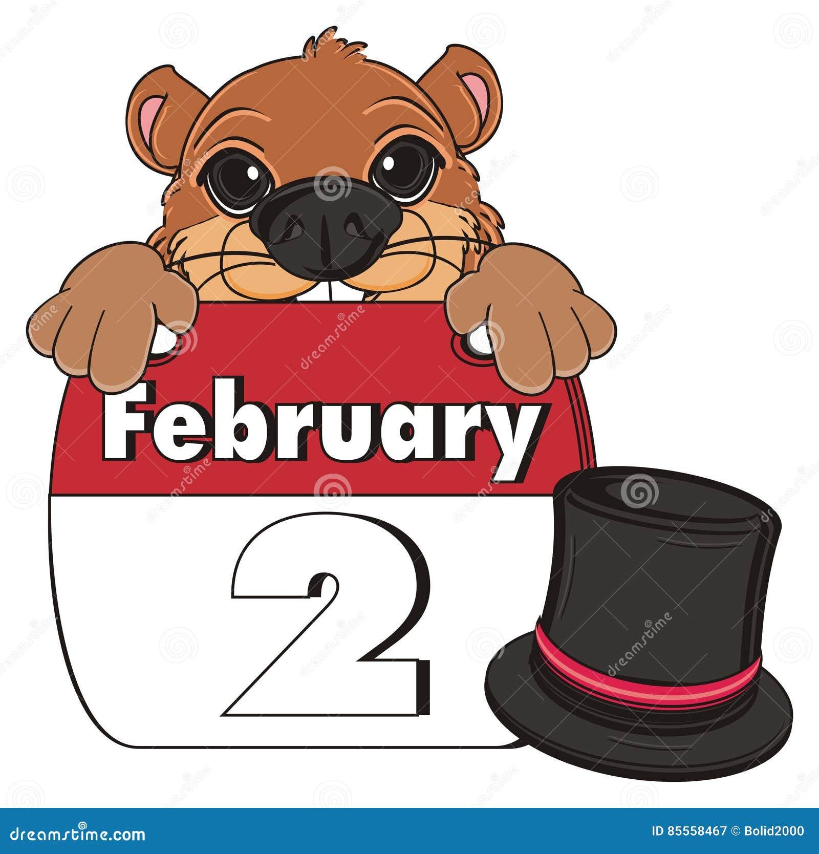 Gesicht von groundhog mit Hut und Kalender