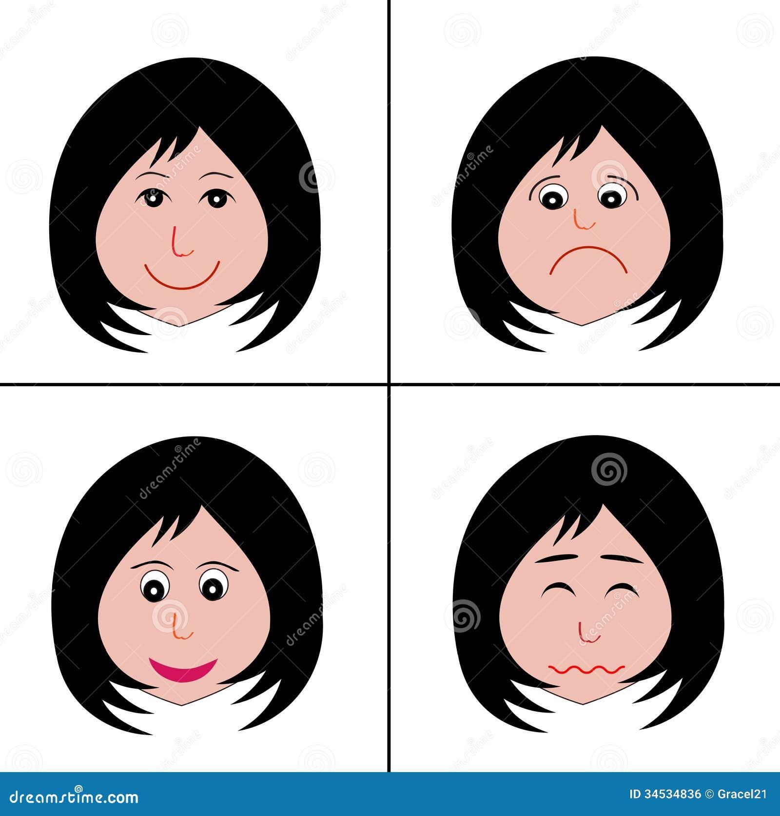 Vier karikaturgesichter mit verschiedenen gefühlen auf weiß