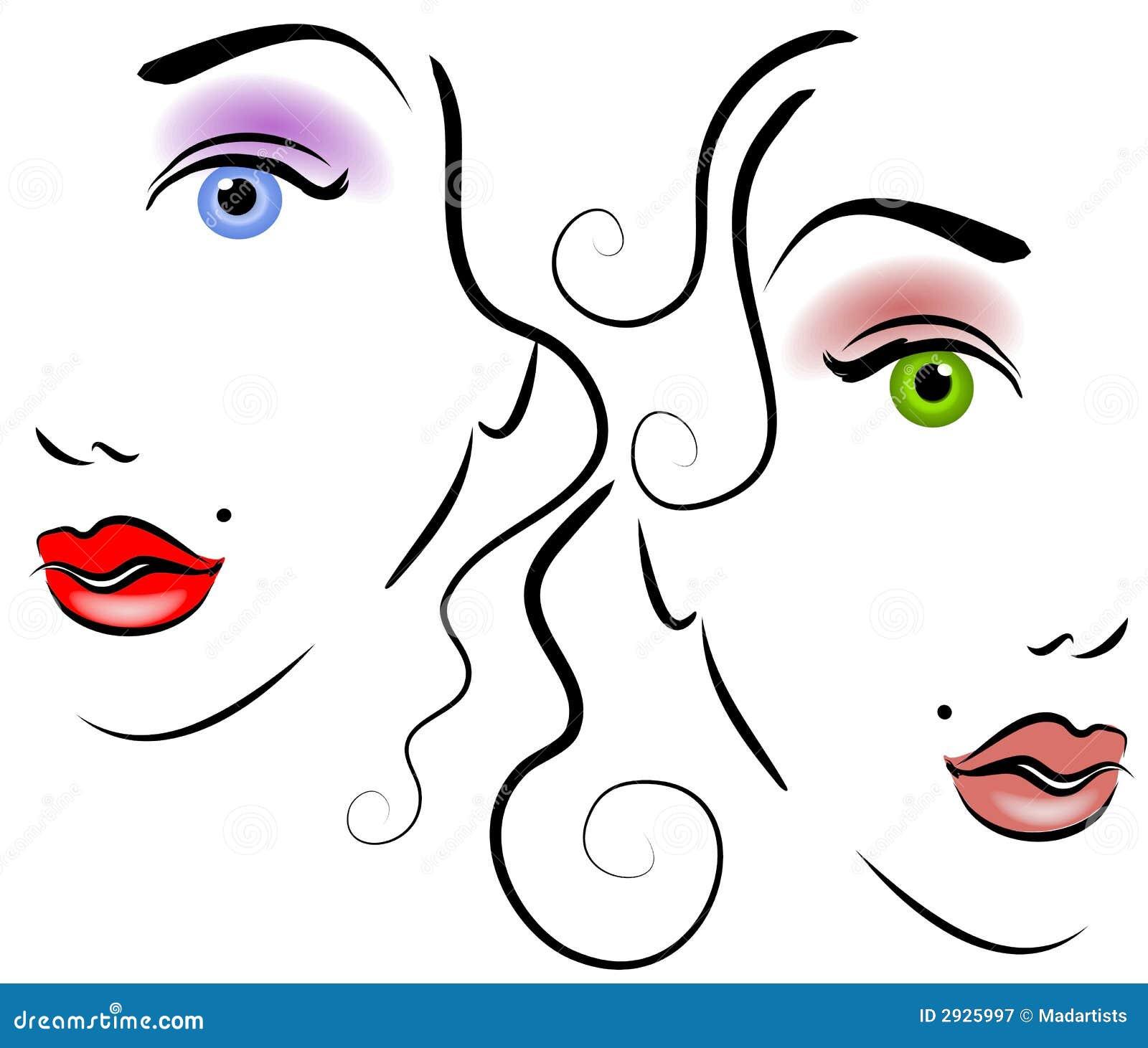 Line Art Womans Face : Gesichter von frauen klipp kunst stock abbildung