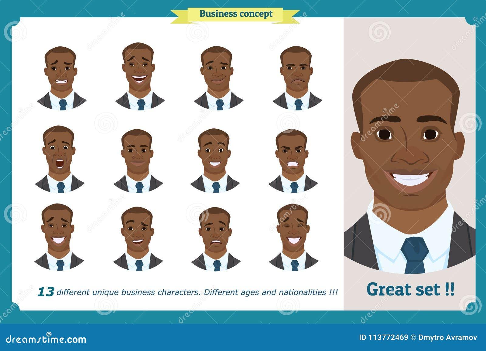Gesichtsausdrücke eines Mannes flache Zeichentrickfilm-Figur Geschäftsmann in einem Anzug und in einer Bindung Schwarzer Amerikan