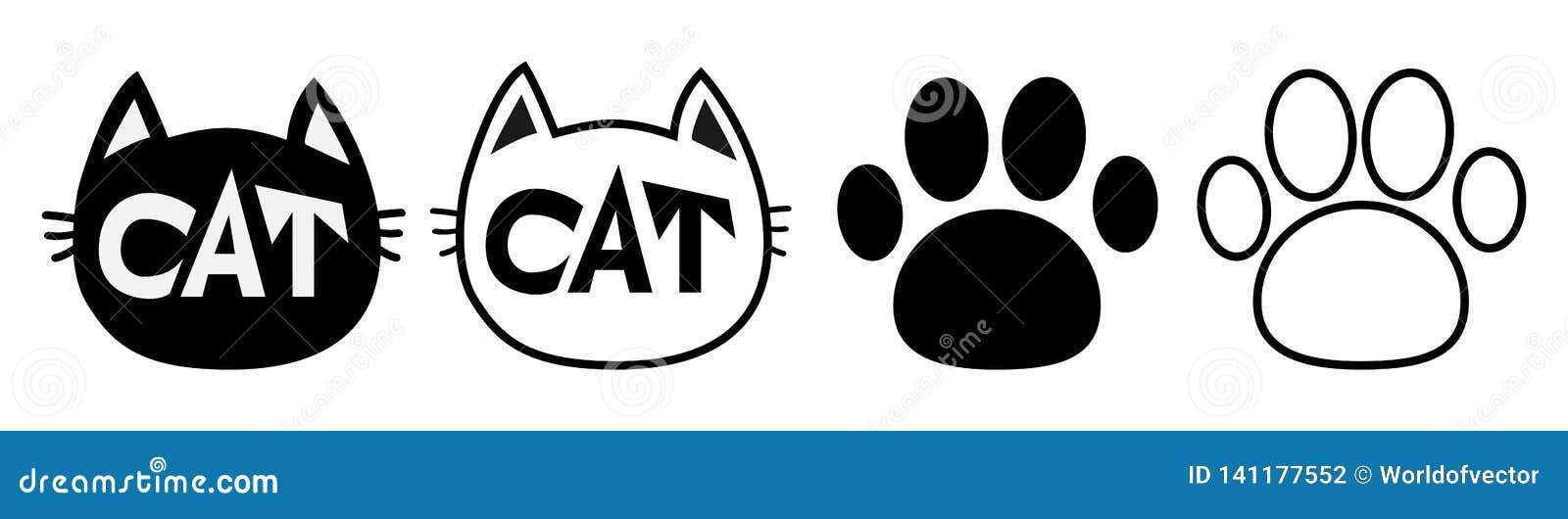 GESICHTSkonturnschattenbildikonen-Satzlinie der schwarzen Katze Haupt pictogram Leere Schablone Pfotenabdruckbahn Nette lustige Z