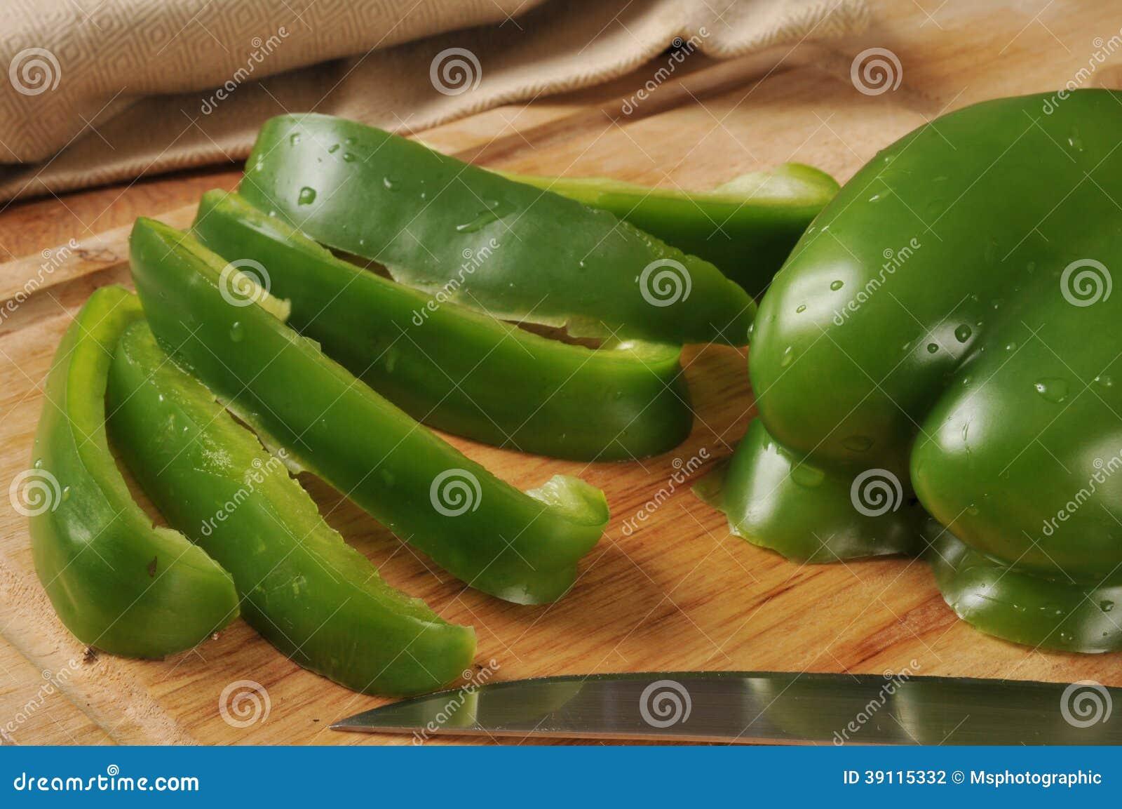 Gesneden groene groene paprika s
