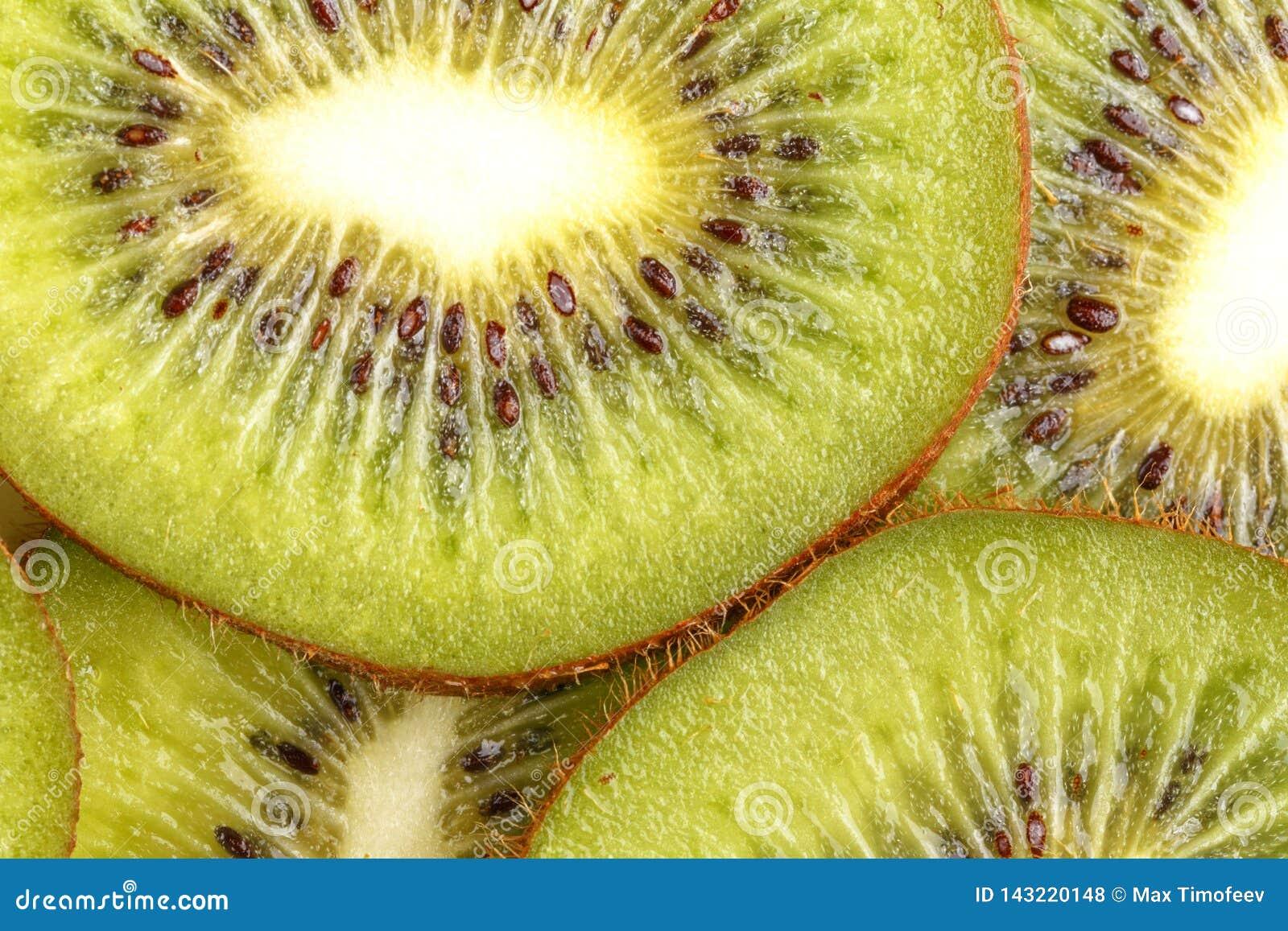 Gesneden sappig kiwifruit Mening van hierboven